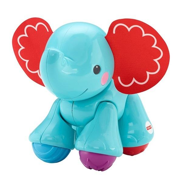 Fisher-Price Подвижная игрушка СлонCGG86_CGG82Подвижная игрушка Fisher-Price Слон изготовлена из высококачественного прочного пластика безопасного для детей. Познакомьтесь с этим забавным и дружелюбным слоником с текстильными ушками! Эта игрушка подарит ребенку много звуков, движения и радости. У игрушки лапы и голова двигаются в разные стороны с забавным треском и щелканьем, что обязательно понравится малышу! Игрушку удобно держать в руках. Подвижная игрушка Fisher-Price Слон поможет ребенку в развитии мелкой моторики, слуха, координации движений.