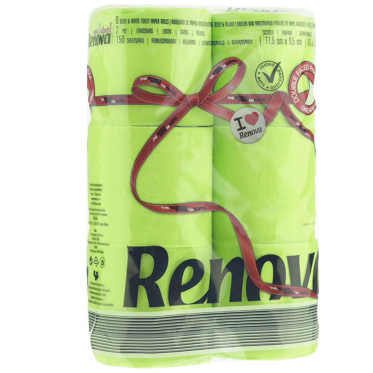 Туалетная бумага Renova, двухслойная, ароматизированная, цвет: зеленый, 6 рулонов200066931Туалетная бумага Renova изготовлена по новейшей технологии из 100% ароматизированной целлюлозы, благодаря чему она имеет тонкий аромат, очень мягкая, нежная, но в тоже время прочная. Эксклюзивная двухсторонняя туалетная бумага Renova  экстрамодного цвета, придаст вашему туалету оригинальность. Состав: 100% ароматизированная целлюлоза. Количество листов: 150 шт. Количество слоев: 2. Размер листа: 11,5 см х 9,5 см. Количество рулонов: 6 шт. Португальская компания Renova является ведущим разработчиком новейших технологий производства, нового стиля и направления на рынке гигиенической продукции. Современный дизайн и высочайшее качество, дерматологический контроль - это то, что выделяет компанию Renova среди других производителей бумажной санитарно-гигиенической продукции.
