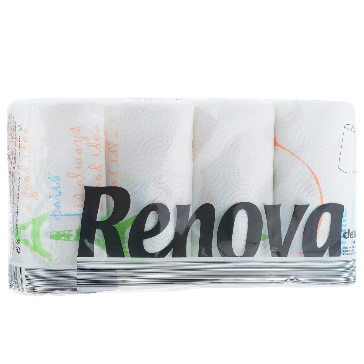 Полотенца бумажные Renova Design, двухслойные, цвет: белый, 4 рулона200046924Полотенца Renova Design оригинального оформления, выполнены из 100% целлюлозы. Мягкие полотенца идеальны для ежедневного ухода, благодаря тому, что они хорошо удерживают влагу. Также полотенца Renova Design дополнят интерьер вашей кухни. Состав: 100% целлюлоза. Количество листов: 40 шт. Количество слоев: 2. Количество рулонов: 4 шт. Португальская компания Renova является ведущим разработчиком новейших технологий производства, нового стиля и направления на рынке гигиенической продукции. Современный дизайн и высочайшее качество, дерматологический контроль - это то, что выделяет компанию Renova среди других производителей бумажной санитарно-гигиенической продукции.