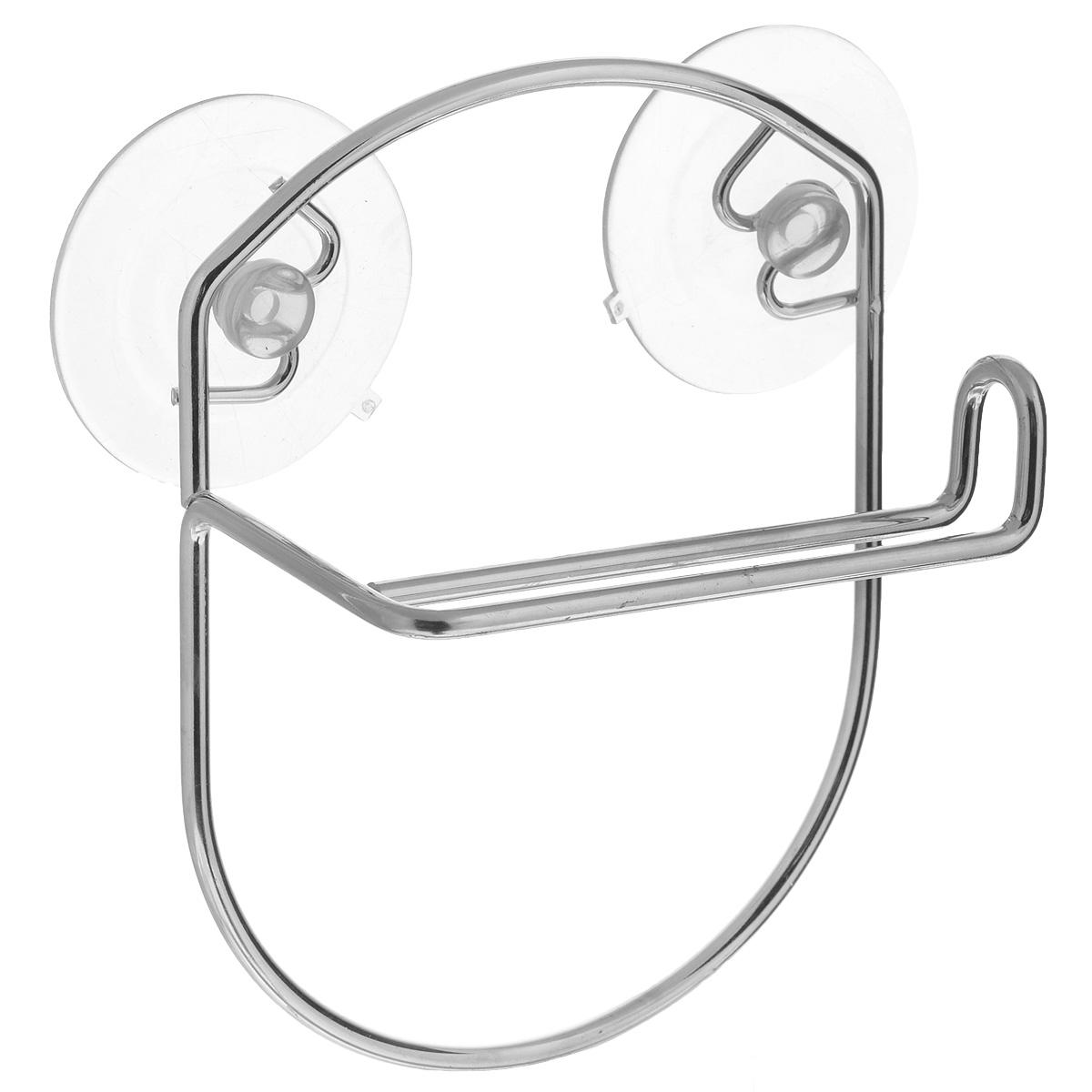 Держатель для туалетной бумаги LaSella, на присосках, цвет: металликKTW-030Держатель для туалетной бумаги LaSella изготовлен из высококачественной стали с хромированным покрытием, которое устойчиво к влажности и перепадам температуры. Держатель поможет оформить интерьер в выбранном стиле, разбавляя пространство туалетной комнаты различными элементами. Он хорошо впишется в любой интерьер, придавая ему черты современности. Для большего удобства изделие крепится к поверхностям с помощью двух присосок из поливинилхлорида (входят в комплект), что дает возможность при необходимости менять их месторасположение. Размер держателя: 13,5 см х 17,5 см х 7 см. Диаметр присоски: 6,5 см.