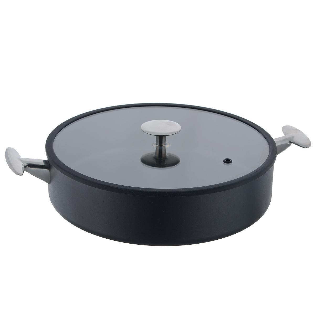 Сотейник с крышкой TVS Maestrale, с антипригарным покрытием, цвет: черный. Диаметр 28 см1V808283310001Сотейник TVS Maestrale выполнен из алюминия с внешним лаковым покрытием черного цвета и обладает превосходной теплопроводностью. Внутреннее антипригарное покрытие Toptec позволяет готовить пищу с минимальным использованием масла. Прочная поверхность сотейника не боится механических повреждений. Эргономичные ручки, изготовленные из нержавеющей стали, имеют плавные формы, которые подчеркивают стиль сотейника. Крышка, изготовленная из закаленного стекла имеет силиконовый уплотнитель, благодаря чему идеально прилегает к сотейнику и обеспечивает равномерное распределение температуры внутри него. Сотейник TVS Maestrale изготовлен из экологичных материалов, что делает его пригодным для приготовления пищи детям. Подходит для всех видов плит, включая индукционные. Сотейник TVS Maestrale можно использовать в духовому шкафу. Максимальная температура 230°С. Можно мыть в посудомоечной машине. Особенностью коллекции Maestrale является...