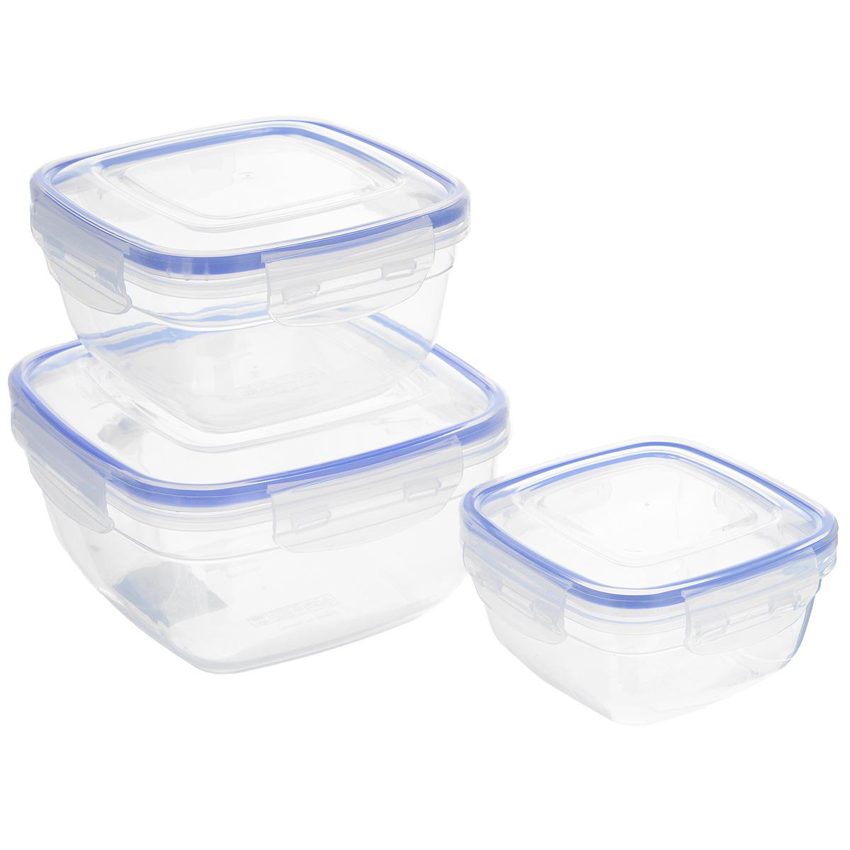 Набор квадратных контейнеров Dunya Plastik, 3 шт. 3014230142Набор Dunya Plastik состоит из трех квадратных контейнеров разного объема. Изделия выполнены из высококачественного пищевого прозрачного пластика без примеси бисфенола. Такой пластик не содержит вредных веществ и подходит для контакта с пищевыми продуктами. Контейнеры оснащены вакуумными крышками, которые плотно закрываются на 4 защелки, а благодаря силиконовой прослойке обеспечивают герметичность. Контейнеры непроницаемы для воздуха и жидкости. Подходят для хранения и транспортировки пищи. Складываются друг в друга, что экономит пространство при хранении в шкафу. Подходят для использования в микроволновой печи без крышки (до +95°С), для заморозки при минимальной температуре -25°С. Можно мыть в посудомоечной машине. Объем контейнеров: 500 мл; 900 мл; 1500 мл. Размер контейнеров: 12,3 см х 12,3 см х 6,5 см; 14,7 см х 14,7 см х 8 см; 17 см х 17 см х 9,5 см.