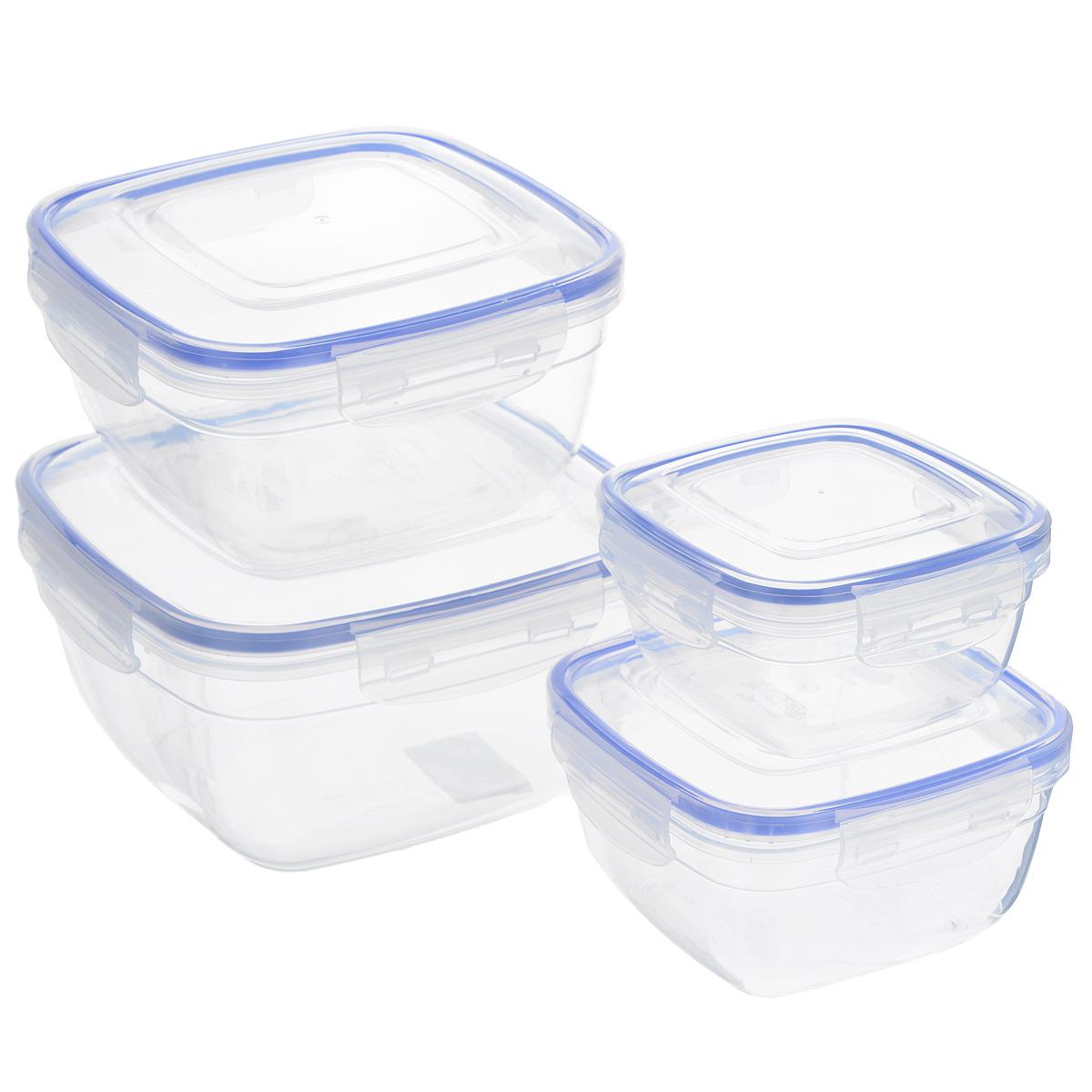 Набор квадратных контейнеров Dunya Plastik, 4 шт. 3014330143Набор Dunya Plastik состоит из четырех квадратных контейнеров разного объема. Изделия выполнены из высококачественного пищевого прозрачного пластика без примеси бисфенола. Такой пластик не содержит вредных веществ и подходит для контакта с пищевыми продуктами. Контейнеры оснащены вакуумными крышками, которые плотно закрываются на 4 защелки, а благодаря силиконовой прослойке обеспечивают герметичность. Контейнеры непроницаемы для воздуха и жидкости. Подходят для хранения и транспортировки пищи. Складываются друг в друга, что экономит пространство при хранении в шкафу. Подходят для использования в микроволновой печи без крышки (до +95°С), для заморозки при минимальной температуре -25°С. Можно мыть в посудомоечной машине. Объем контейнеров: 500 мл; 900 мл; 1500 мл; 2400 мл. Размер контейнеров: 12,3 см х 12,3 см х 6,5 см; 14,7 см х 14,7 см х 8 см; 17 см х 17 см х 9,5 см; 19,5 см х 19,5 см х 11 см.