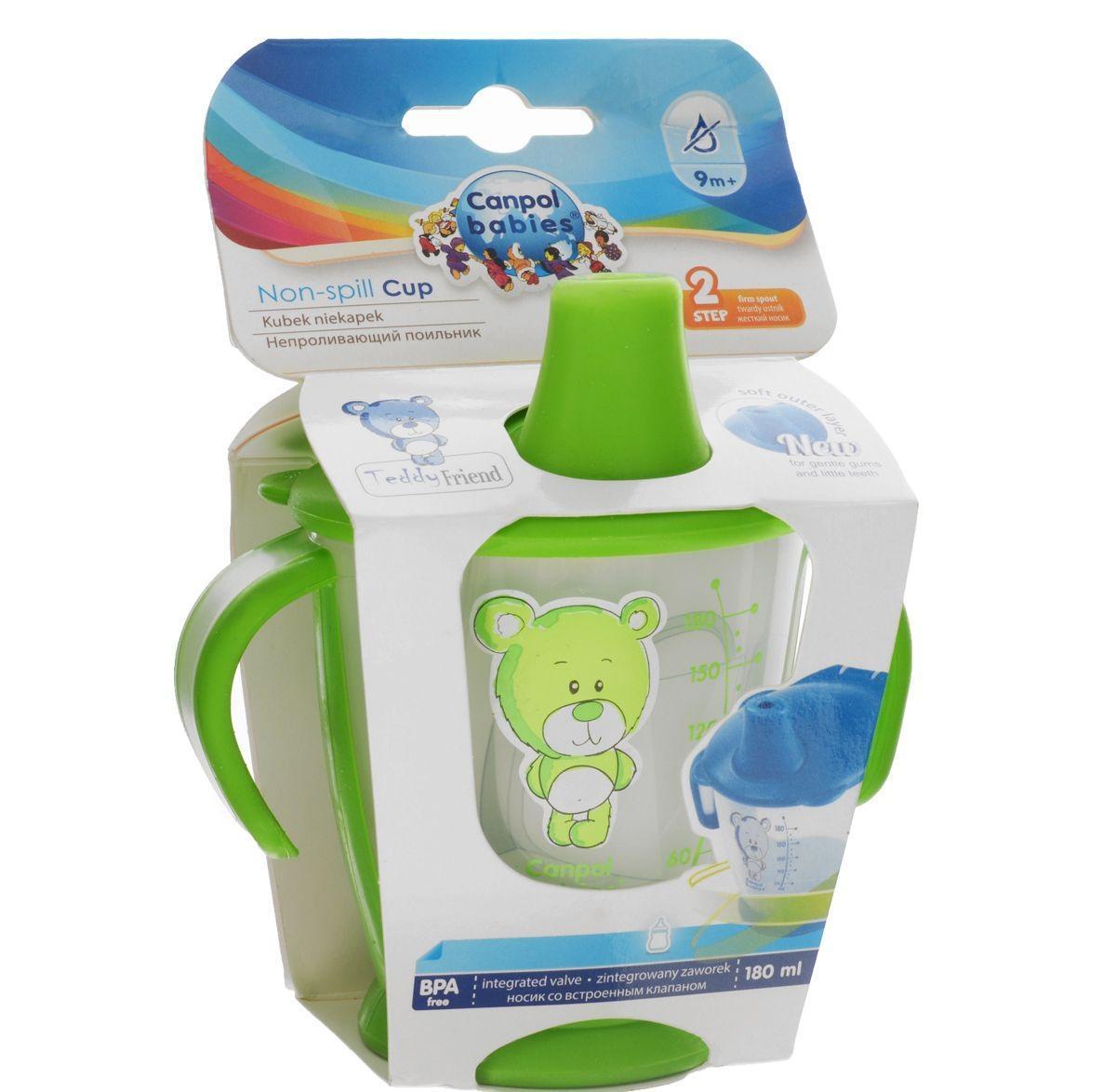 Поильник Canpol Babies Медвежонок, непроливающий, цвет: зеленый, 180 мл31/500 зеленыйПоильник Canpol Babies Медвежонок предназначен для ребенка от 9 месяцев и снабжен уникальным непроливающим клапаном, который разработан знаменитым дизайнером Мэнди Хабэрмэн таким образом, чтобы ребенок мог пить самостоятельно, не проливая при этом содержимое поильника. Благодаря непроливающему жесткому носику, который защищает содержимое поильника от проливания, ребенок легко научиться пить самостоятельно. Поильник дополнен фигурными прорезиненными ручками, которые позволяют ребенку легко хватать и удерживать их в своих маленьких ручках. Также предусмотрено нескользящее дно, которое предотвращает случайные движения поильника по поверхности. Благодаря простому дизайну (емкость и крышка) поильник легко содержать в чистоте. Оформлен поильник рисунком с изображением очаровательного медвежонка, а также шкалой с обозначениями.