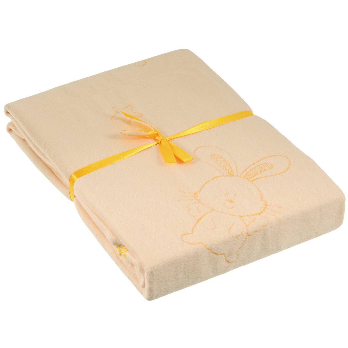 Одеяло детское Baby Nice Мишки и зайки, байковое, цвет: бежевый, 100 см x 140 смD311511