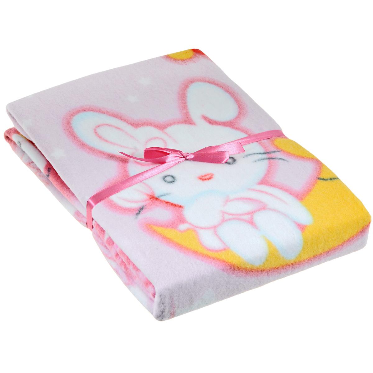 Одеяло детское Baby Nice Зайка на луне, байковое, цвет: розовый, 100 см x 140 смD311511