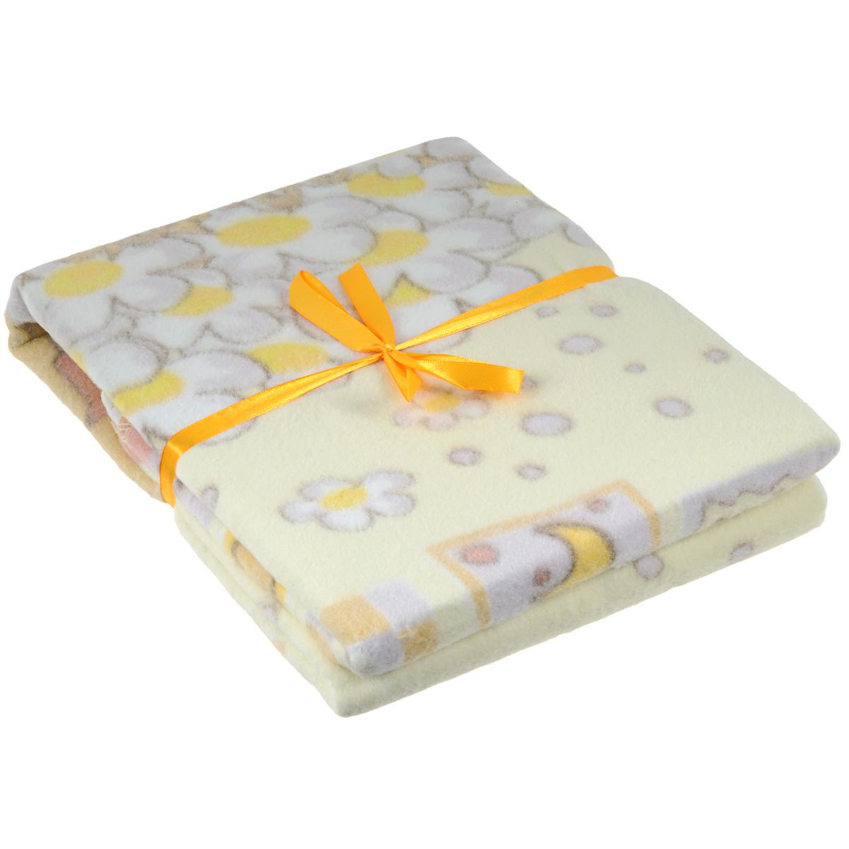 Одеяло детское Baby Nice Паровозик, байковое, цвет: бежевый, 85 см x 115 смD111511
