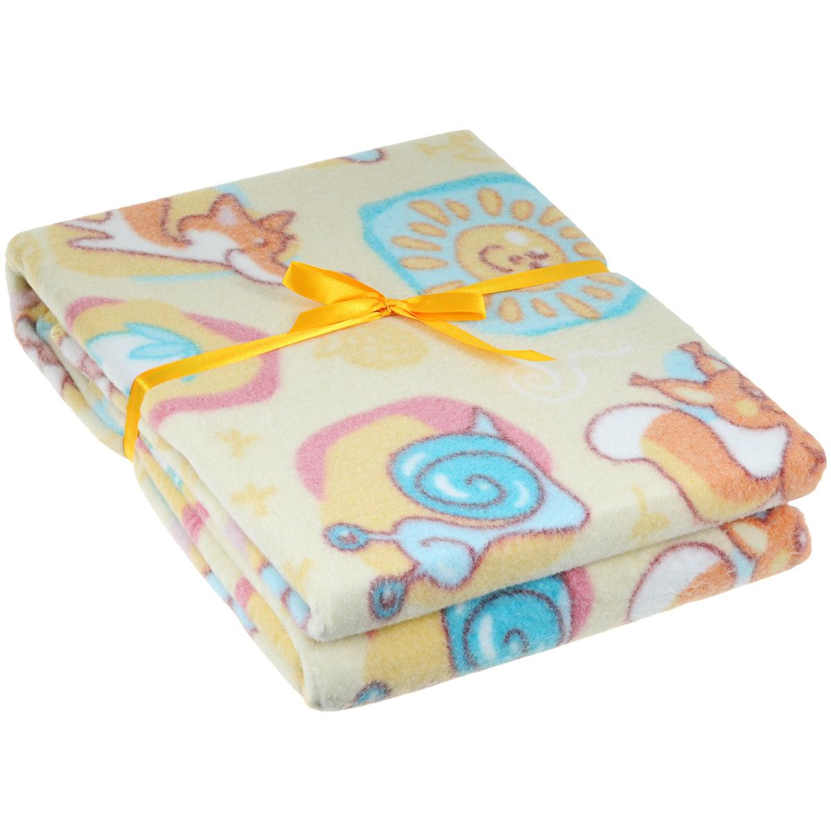 Одеяло детское Baby Nice Лесные жители, байковое, цвет: желтый, 100 см x 118 смD211511