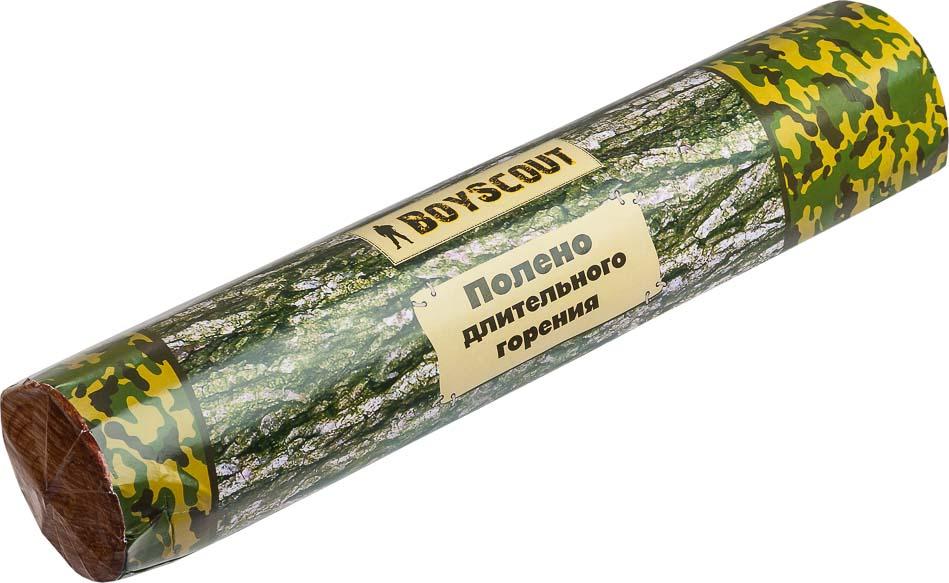 Полено длительного горения Boyscout, 6,5 см х 33 см61041Полено длительного горения Boyscout предназначено для использования в домашних условиях, на пикнике, в печах различного типа, каминах, открытых очагах. Легко и быстро воспламеняется. Не имеет запаха. Горит на протяжении 50-60 минут. При сгорании не искрит. При горении выделяется в несколько раз меньше дыма, угара, тепла и креозота по сравнению с другими поленьями. Изготовлено из вротично переработанной древесины с добавлением углеводорода.
