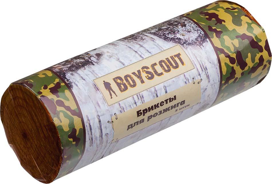Брикеты для розжига Boyscout, 5 шт 6104261042Брикеты Boyscout идеально подходят для разжигания огня в камине, печке, гриле, костре и любом другом месте. Непрерывно горят в течении 25 минут. Позволяют без труда разжечь огонь в сырую ветреную погоду. Изготовлены из вторично переработанной древесины с добавлением углеводородов. Температура горения: 800°С