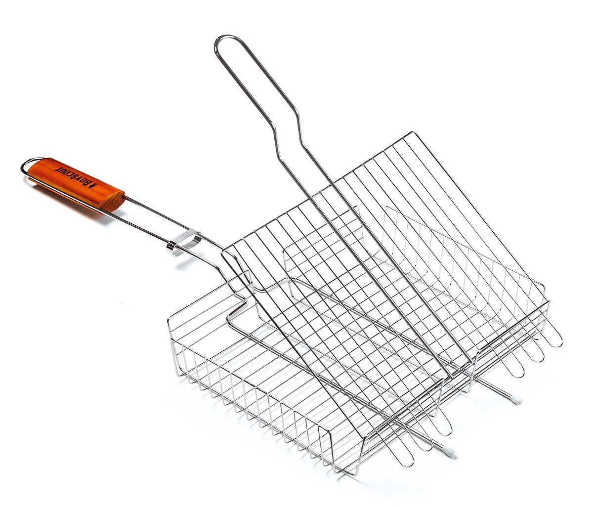Решетка-гриль Boyscout, универсальная, 30 см х 25 см61302Решетка-гриль Boyscout предназначена для приготовления мяса, рыбы, птицы, овощей на открытом воздухе. Изготовлена из высококачественной стали с пищевым хромированным покрытием. Идеально подходит для мангалов и барбекю. Решетка имеет широкое фиксирующее кольцо на ручке, что обеспечивает надежную фиксацию. Специальная деревянная рукоятка предохраняет от ожогов, а также удобна для обхвата двумя руками, что позволяет легко переворачивать решетку. Размер решетки: 30 см x 25 см. Высота решетки: 4,5 см.