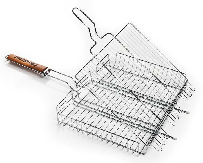 Решетка-гриль Boyscout универсальная, 42 см х 31 см61304Решетка-гриль Boyscout предназначена для приготовления мяса, рыбы, птицы, овощей на открытом воздухе. Изготовлена из высококачественной стали с антипригарным покрытием. Идеально подходит для мангалов и барбекю. Решетка имеет широкое фиксирующее кольцо на ручке, что обеспечивает надежную фиксацию. Специальная деревянная ручка предохраняет руки от ожогов, а также удобна для обхвата двумя руками, что позволяет легко переворачивать решетку. Длина ручки: 30 см. Размер решетки: 42 см х 6 см х 31 см.