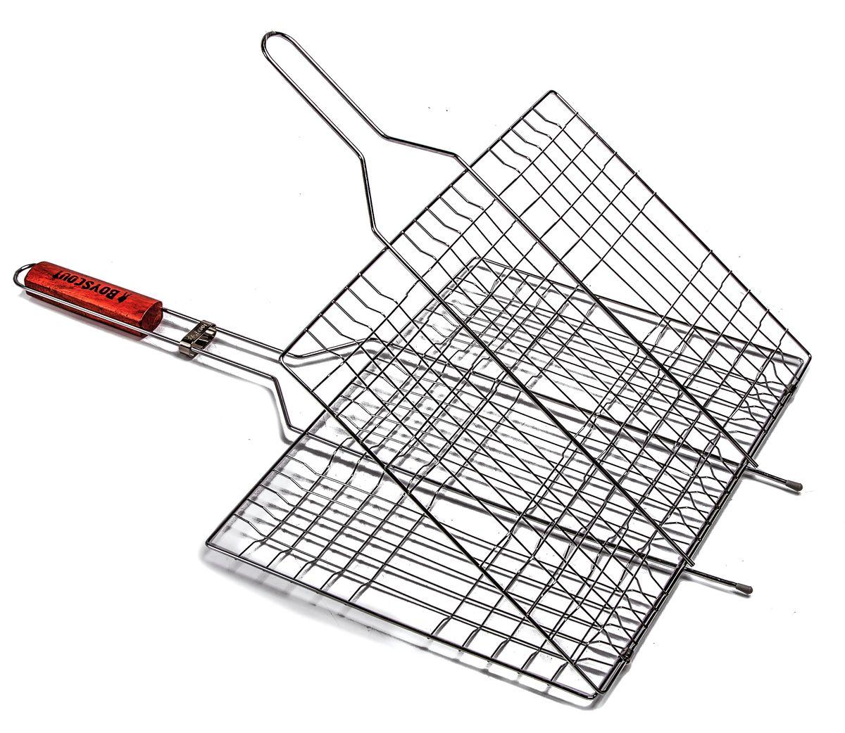 Решетка-гриль Boyscout, с антипригарным покрытием, 67 см х 40 см х 2,5 см + ПОДАРОК: Веер для розжига Boyscout61312Решетка-гриль Boyscout предназначена для приготовления пищи на открытом воздухе. Изготовлена из высококачественной стали с антипригарным покрытием. Решетка имеет деревянную вставку на ручке, предохраняющую руки от ожогов и позволяющую без труда перевернуть решетку. Надежное кольцо-фиксатор гарантирует, что решетка не откроется, и продукты не выпадут. Приготовление вкусных блюд из рыбы, мяса или птицы на пикнике становится еще более быстрым и удобным с использованием решетки-гриль. К решетке прилагается подарок - веер для розжига, выполненный из плотного картона. Размер рабочей поверхности: 40 см х 30 см х 2,5 см Длина ручки: 32 см Размер веера: 21 см х 15 см х 0,5 см.