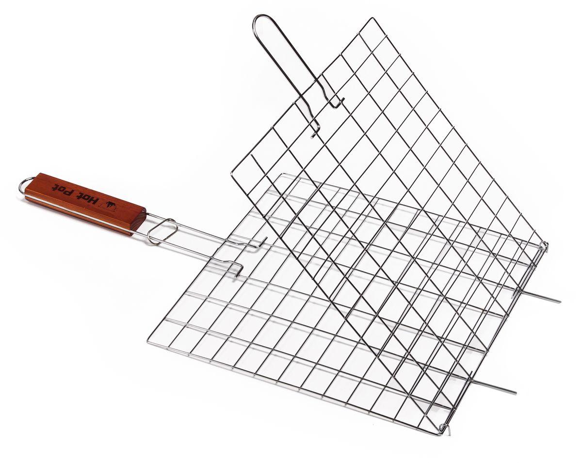 Решетка-гриль Hot Pot, универсальная, 54 см х 28 см х 1 см61333Решетка-гриль Hot Pot предназначена для приготовления пищи на открытом воздухе. Изготовлена из высококачественной стали с пищевым хромированным покрытием. Решетка имеет деревянную вставку на ручке, предохраняющую руки от ожогов и позволяющую без труда перевернуть решетку. Надежное кольцо-фиксатор гарантирует, что решетка не откроется, и продукты не выпадут. Приготовление вкусных блюд из рыбы, мяса или птицы на пикнике становится еще более быстрым и удобным с использованием решетки-гриль. Размер рабочей поверхности: 28 см х 28 см х 1 см. Длина ручки: 22 см.
