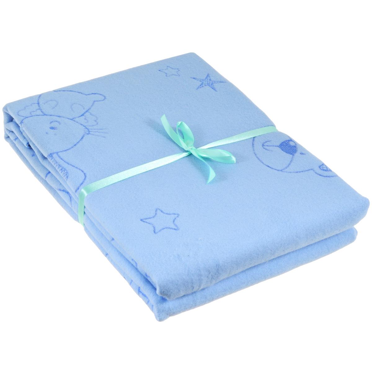 Одеяло детское Baby Nice Мишки и зайки, байковое, цвет: голубой, 100 см x 140 смD311511