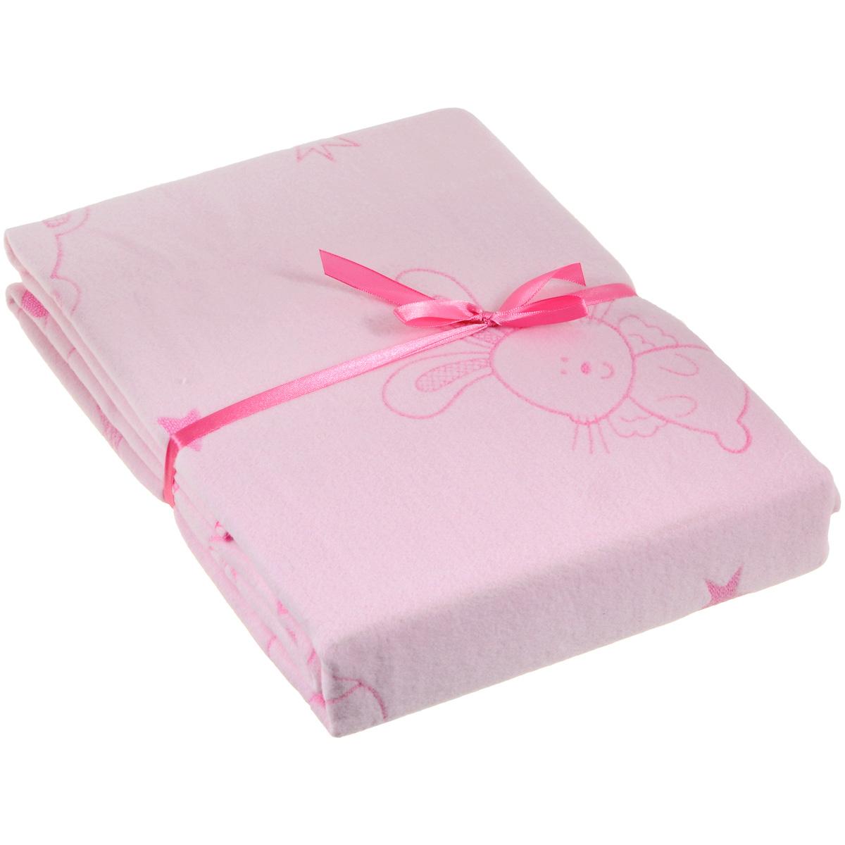 Одеяло детское Baby Nice Мишки и зайки, байковое, цвет: розовый, 100 см x 140 смD311511