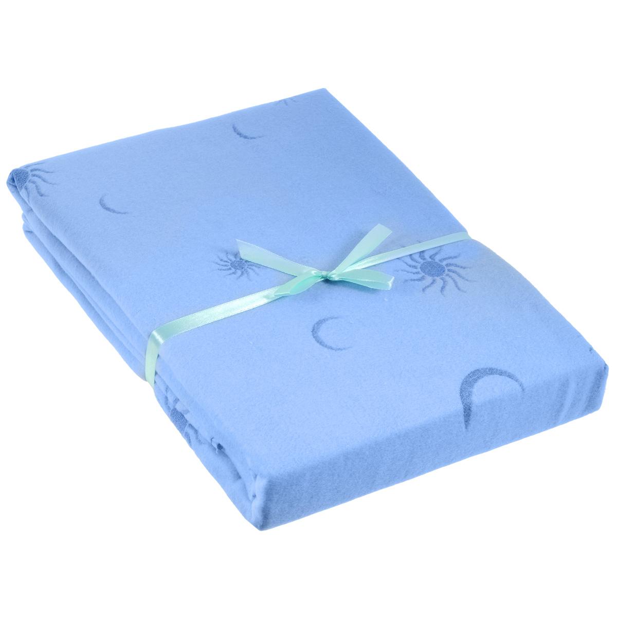 Одеяло детское Baby Nice Луна, байковое, цвет: голубой, 100 см x 140 смD311511