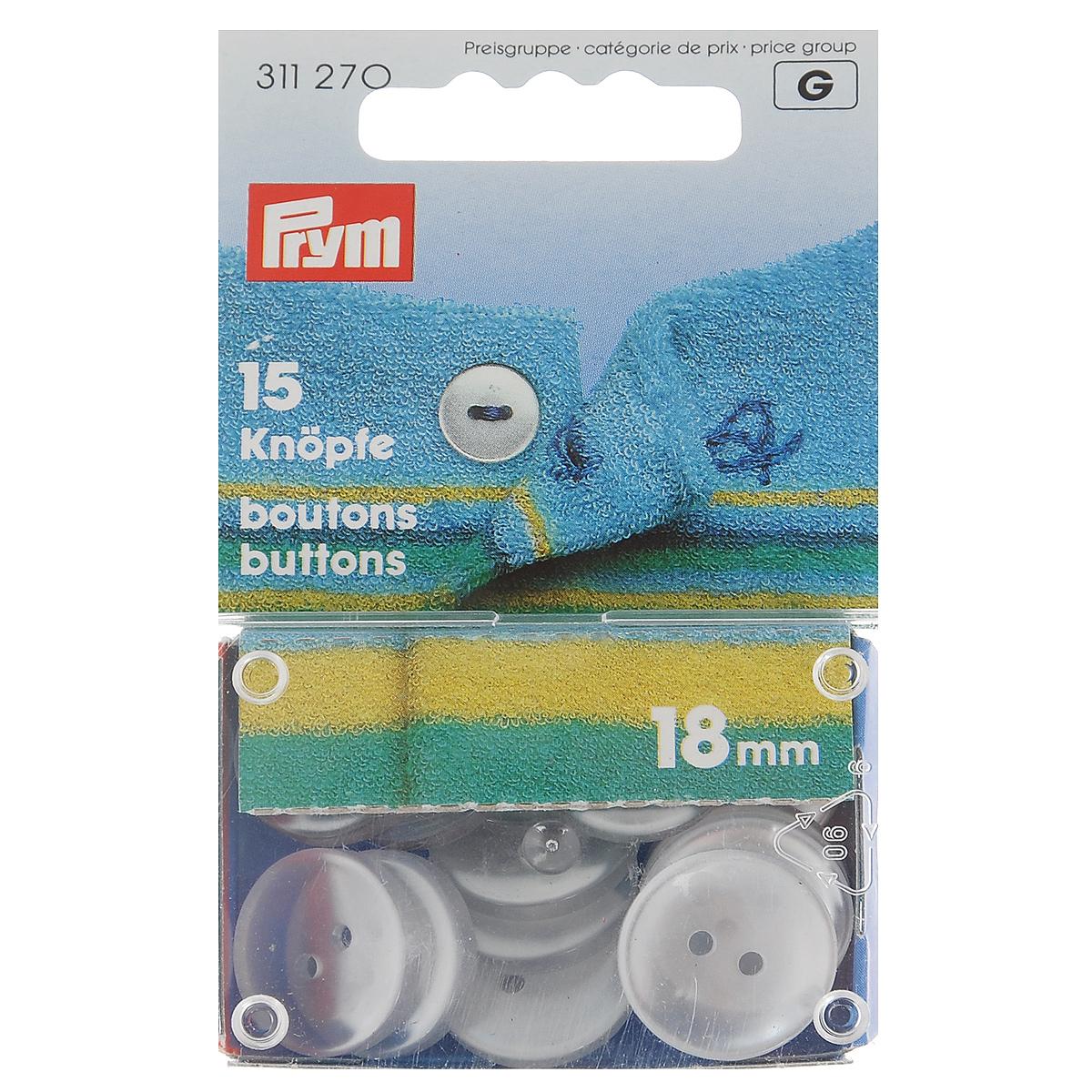 Пуговицы для халатов и пижам Prym, цвет: перламутровый, 18 мм, 15 шт311270Однотонные пуговицы Prym изготовлены из пластика и предназначены для халатов и пижам. Изделия оснащены двумя отверстиями для пришивания к ткани. В наборе - 15 пуговиц диаметром 18 мм. Диаметр пуговиц: 18 мм.