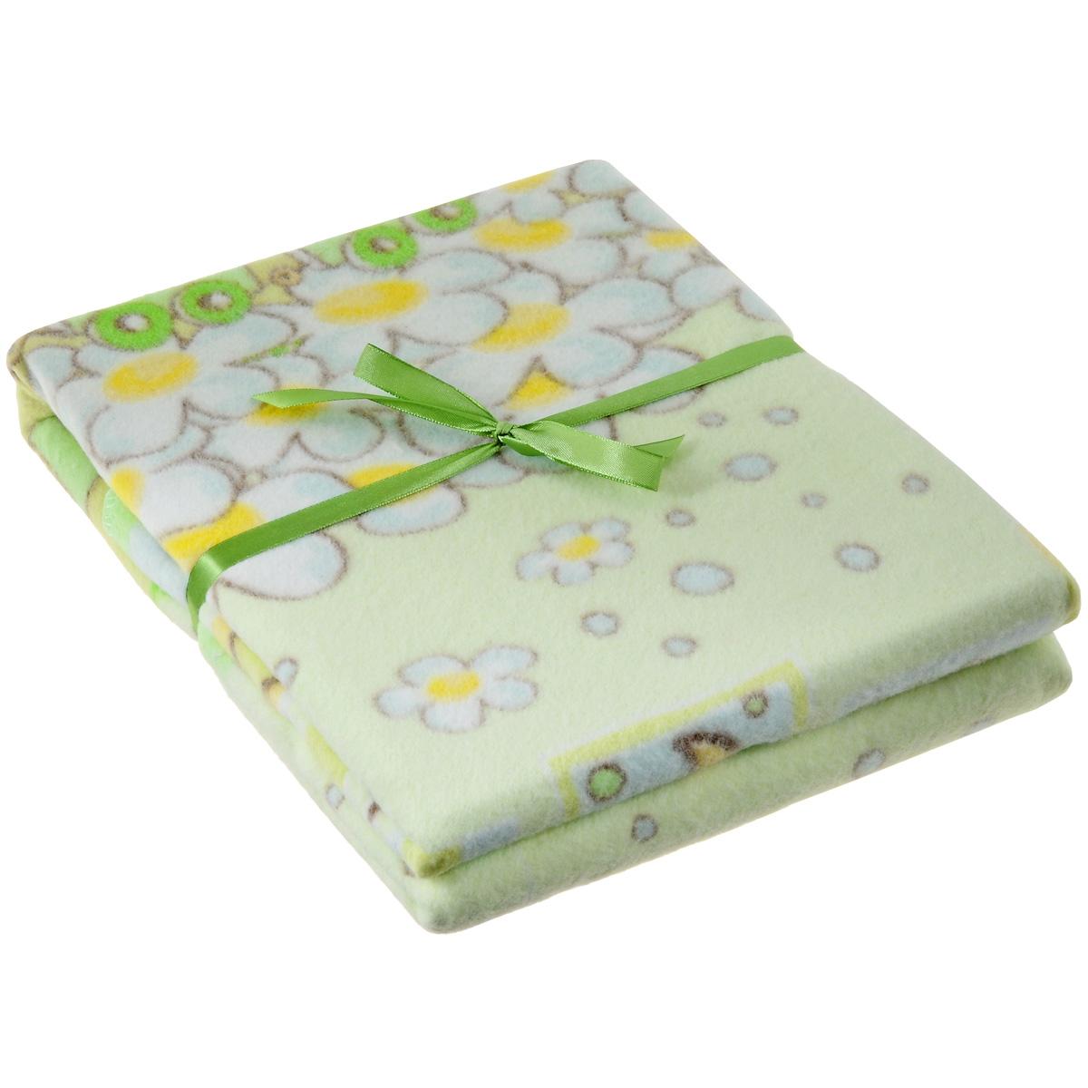 Одеяло детское Baby Nice Паровозик, байковое, цвет: зеленый, 85 см x 115 смD111511