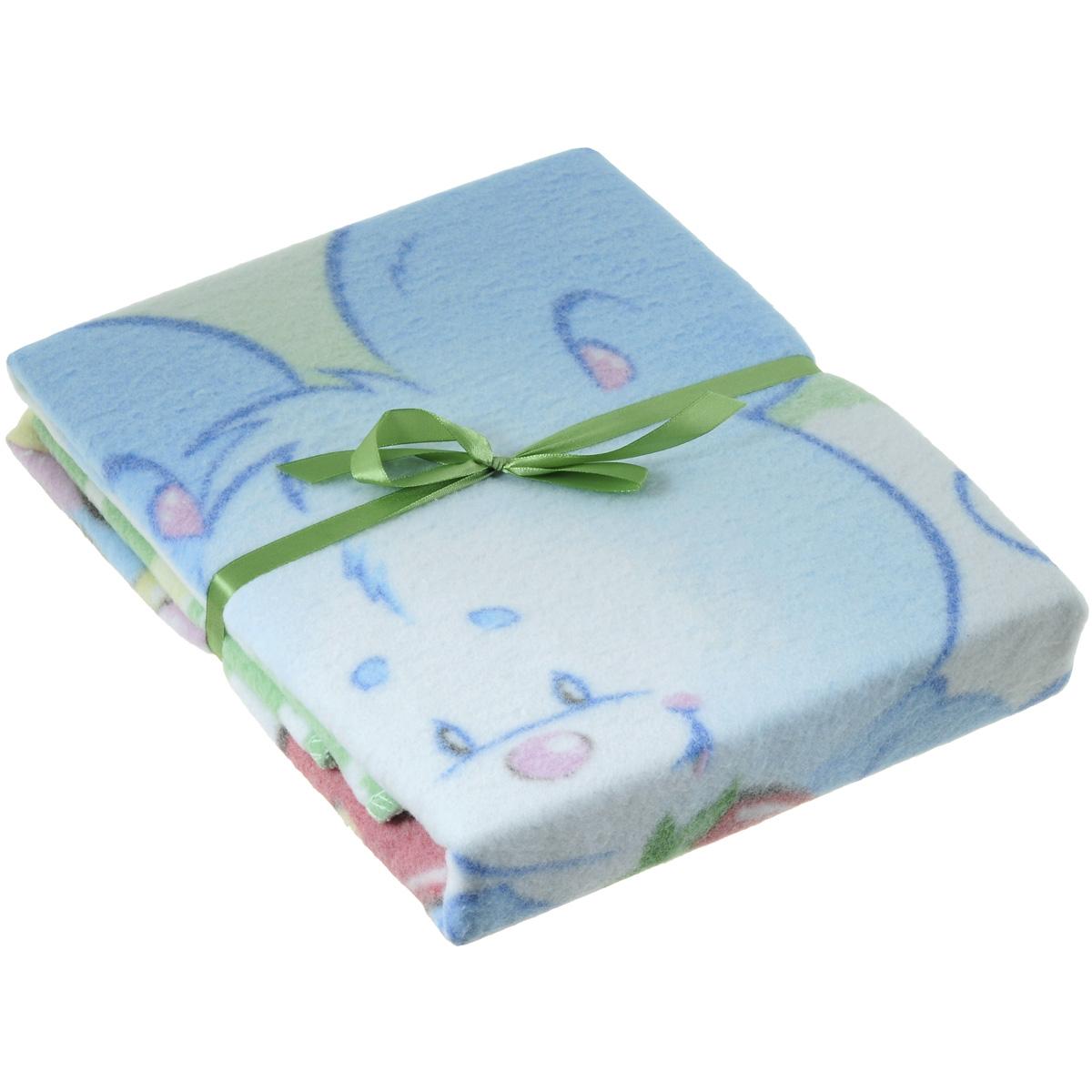 Одеяло детское Baby Nice Земляничная поляна, байковое, цвет: зеленый, 85 см x 115 смD111511
