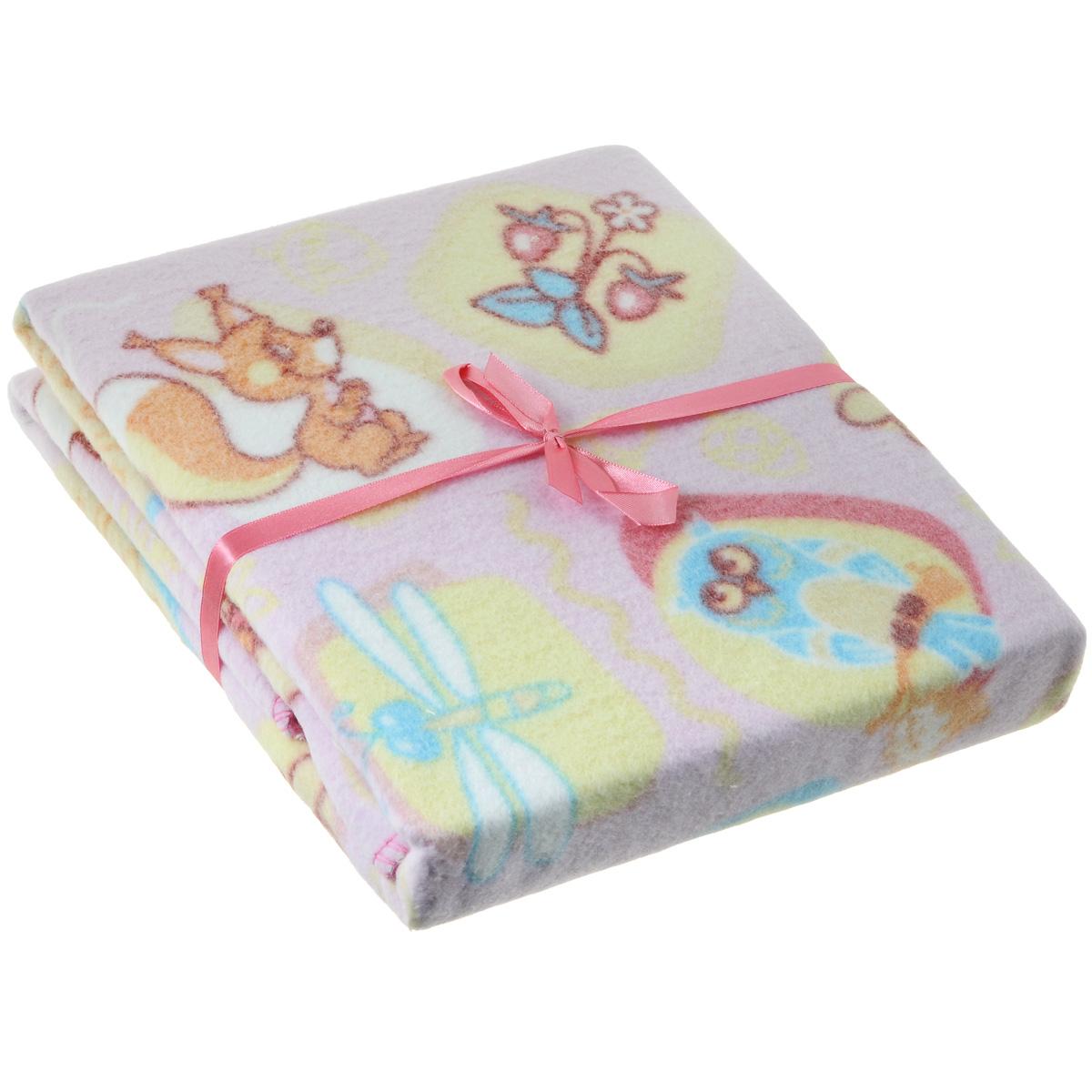 Одеяло детское Baby Nice Лесные жители, байковое, цвет: розовый, 100 см x 118 смD211511