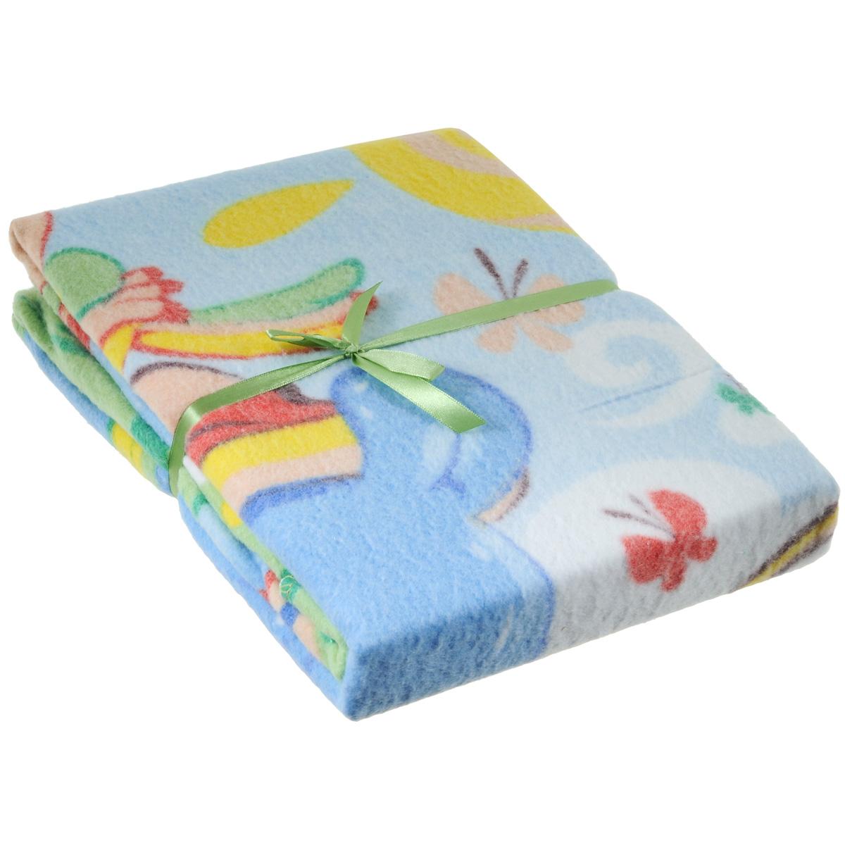 Одеяло детское Baby Nice Бегемот и попугай, байковое, цвет: зеленый, 100 см x 140 смD311511