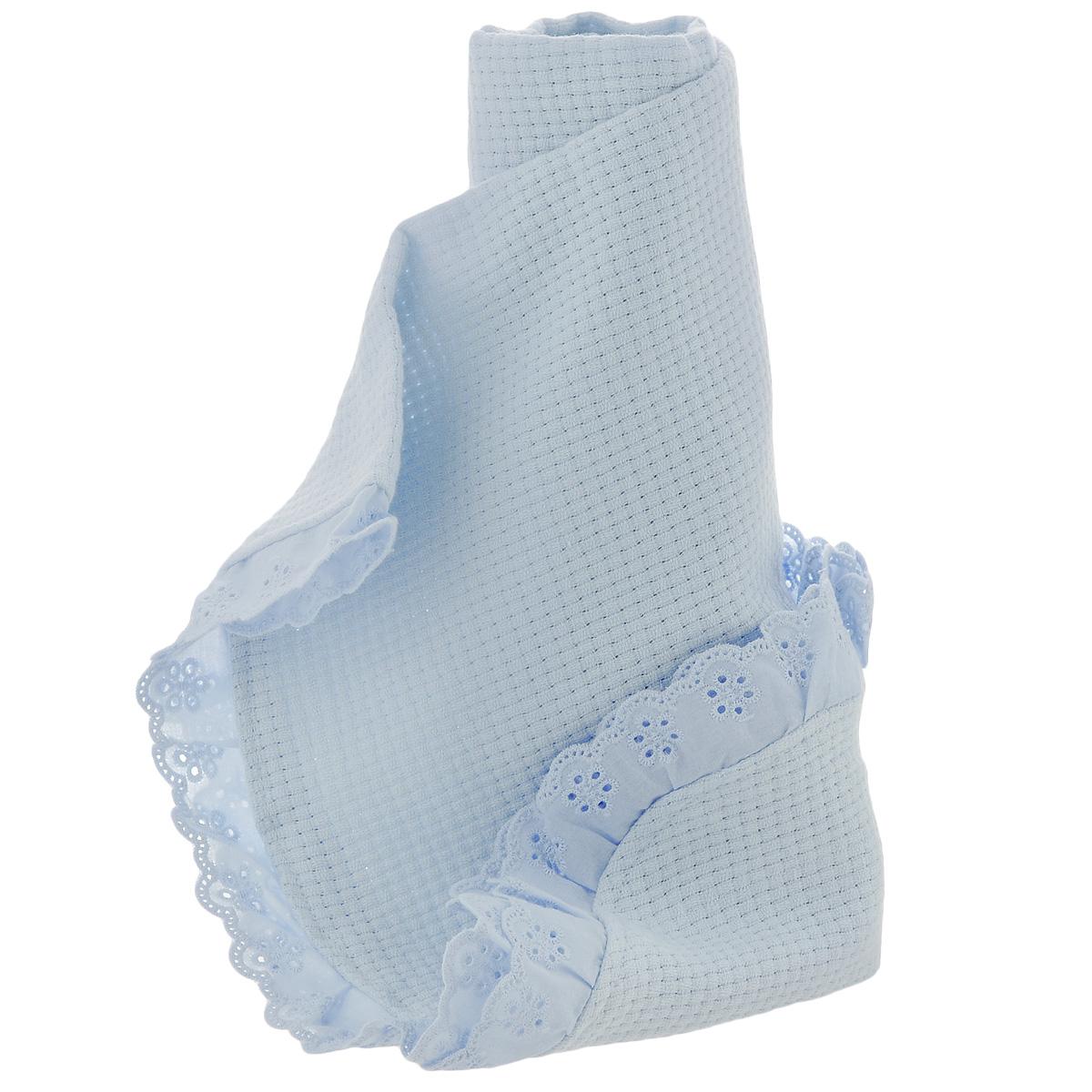 Одеяло детское Baby Nice, вязаное, цвет: голубой, 80 см x 100 см. К110399К110399Детское вязаное одеяло Baby Nice, изготовленное из натурального 100% хлопка, является экологичным и абсолютно не вызывают аллергии. Изделие декорировано рюшами. Такое одеяло дышит благодаря своему натуральному составу и неплотной структуре вязки. Одеяло особенно подходит для летнего периода и для теплого климата, так как оно легкое и воздухопроницаемое. Вашему ребенку под таким одеялом не будет жарко. Вязаные одеяла хороши как для дома - в кроватку, так и для прогулки в коляске. Детское одеяло Baby Nice - лучший выбор для тех, кто стремится проявить заботу о своем ребенке. Материал: 100% хлопок. Размер: 80 см х 100 см.