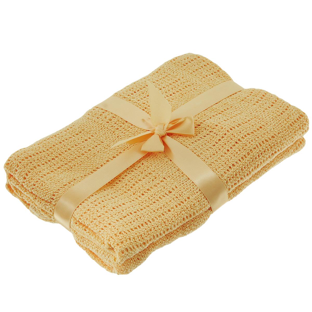 Одеяло детское Baby Nice, вязаное, цвет: оранжевый, 100 см x 140 см. D40612D40612