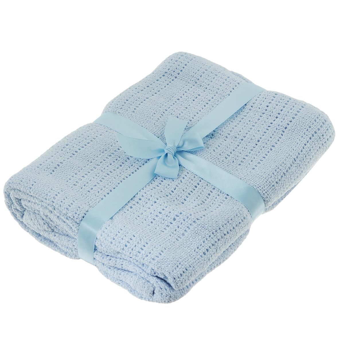 Одеяло детское Baby Nice, вязаное, цвет: голубой, 100 см x 140 см. D40612D40612