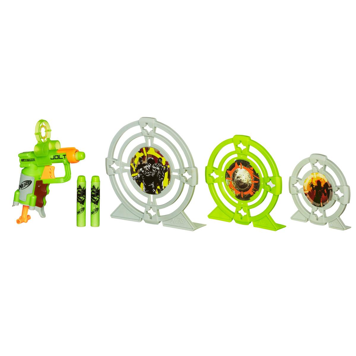 Nerf Бластер Zombie Strike, с мишенямиA6636E24Бластер Nerf Zombie Strike понравится любому мальчишке, ведь с таким оружием у зомби просто не будет шансов. Бластер выполнен из прочного пластика и оснащен обоймой на одну стрелу. В комплекте имеются 3 стрелы, выполненные из вспененного полимера, 3 мишени разного размера с изображением зомби, а также съемный прицел на бластер с отсеками для двух стрел. Игра с таким бластером поможет ребенку в развитии меткости, ловкости, координации движений и сноровки.