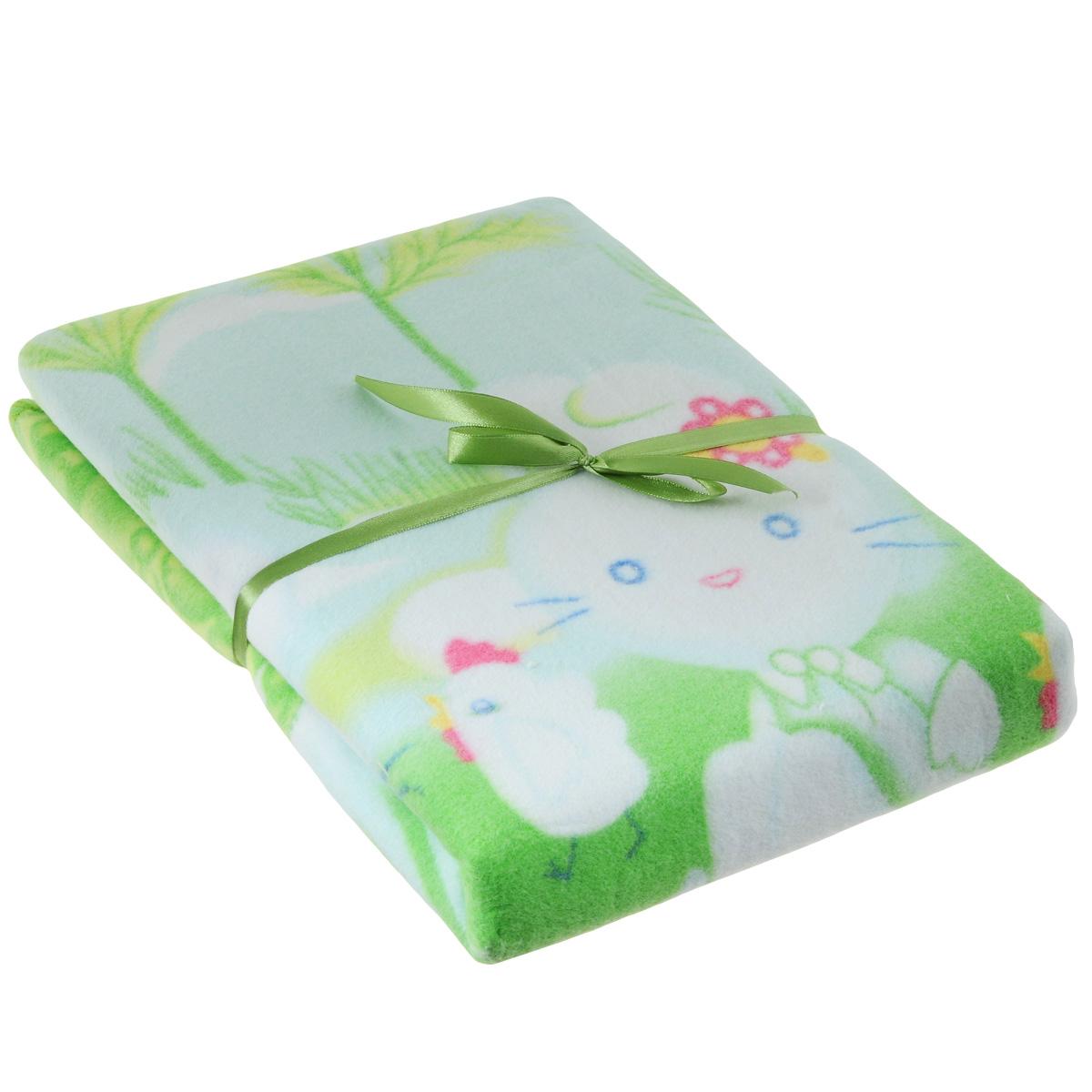 Одеяло детское Baby Nice Зайка на луне, байковое, цвет: зеленый, 100 см x 140 смD311511