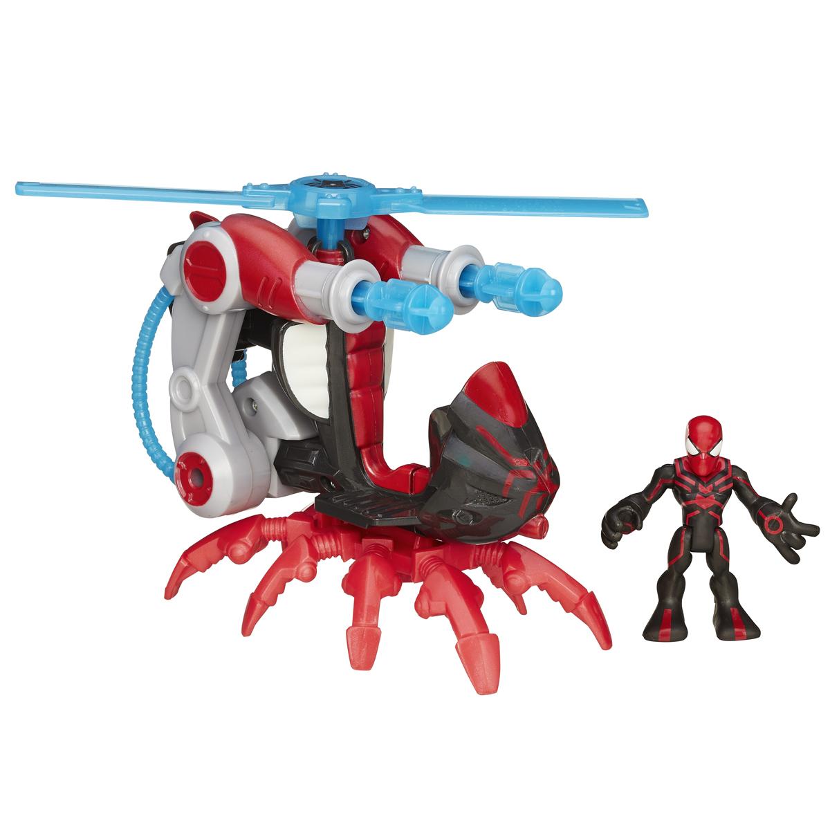 Playskool Игровой набор Spider-Man. B0230EU40(B0245)B0230EU6Игровой набор Playskool Spider-Man непременно привлечет внимание вашего ребенка и не позволит ему скучать. Набор включает в себя фигурку супергероя Человека-Паука и его супервертолет. Игрушки выполнены из прочного безопасного пластика. Лопасти вертолета вращаются, две пушки стреляют снарядами (2 шт в комплекте). Голова, руки и ноги фигурки Человека-Паука подвижны, что позволяет придавать ей различные позы и открывает малышу неограниченный простор для игр. Такой набор обязательно понравится вашему ребенку, и он проведет множество счастливых мгновений, играя с ним и придумывая различные истории. Рекомендуемый возраст: от 3 до 7 лет.