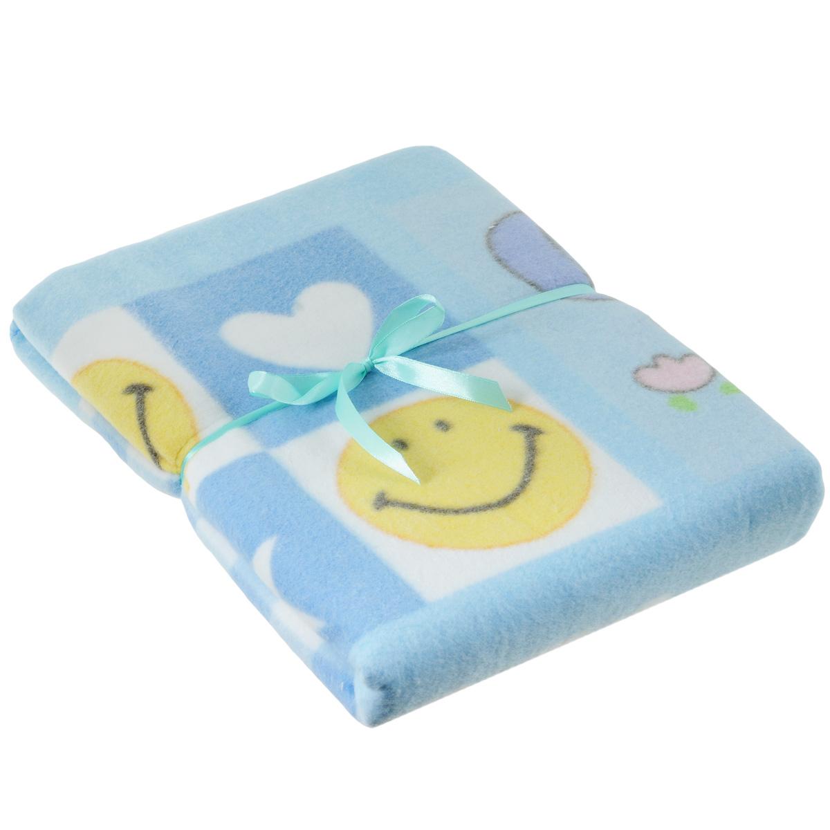 Одеяло детское Baby Nice Солнышки, байковое, цвет: голубой, 100 см x 140 смD311511