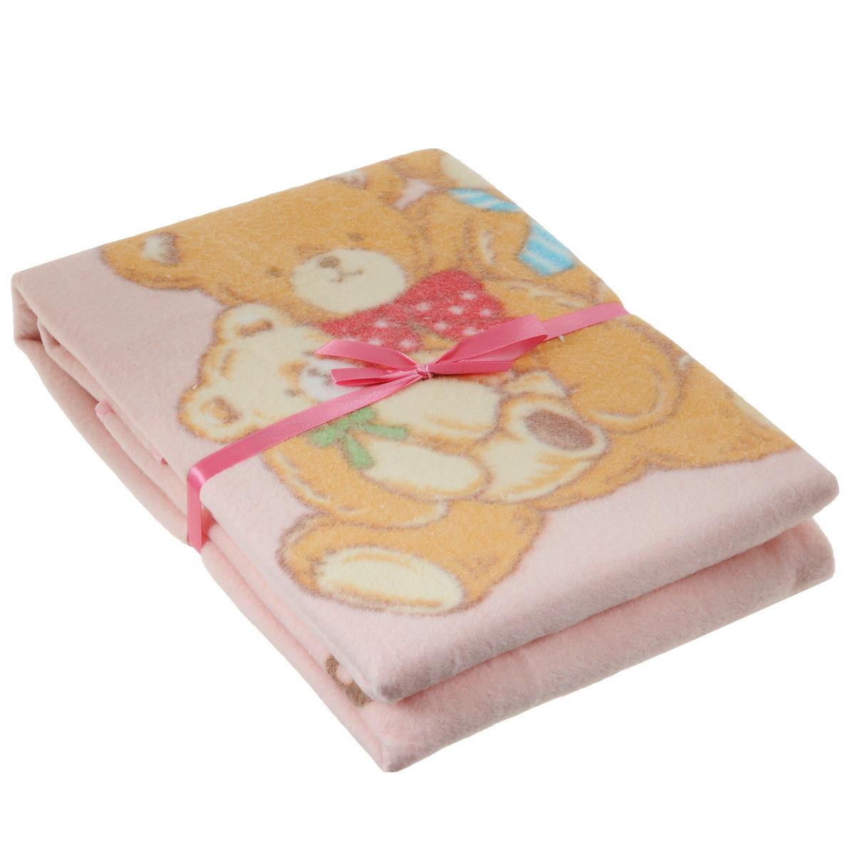 Одеяло детское Baby Nice Семейство медвежат, байковое, цвет: розовый, 100 см x 140 смD311511