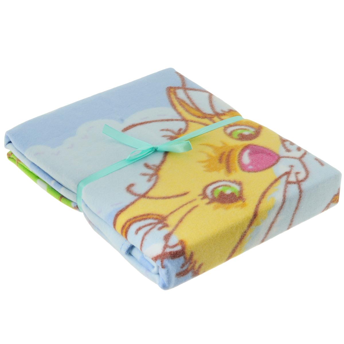 Одеяло детское Baby Nice Котенок, байковое, цвет: голубой, 100 см x 140 смD311511