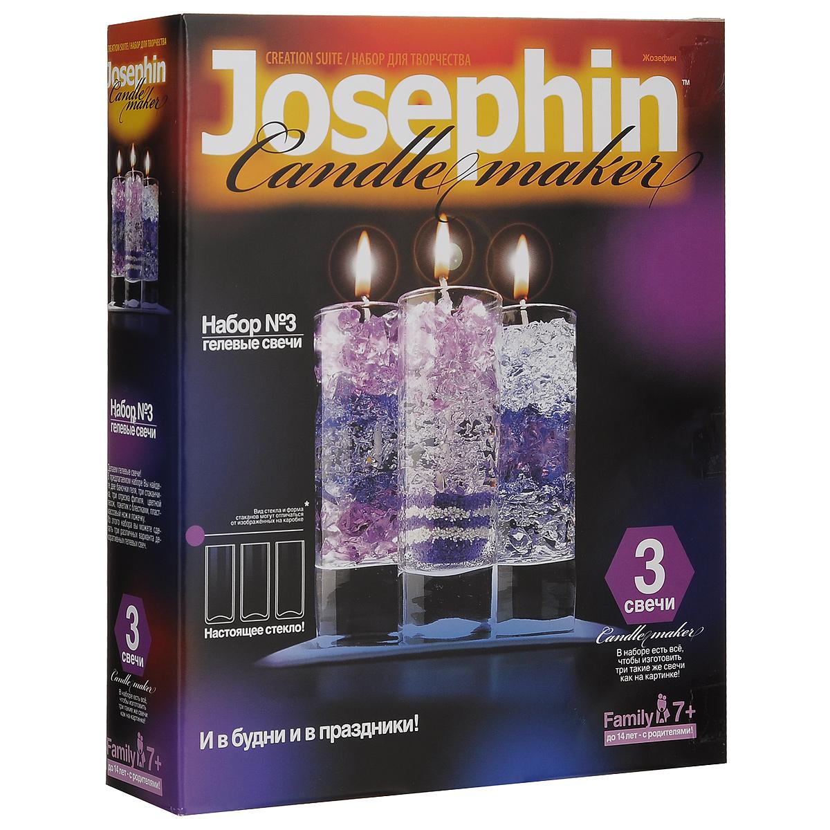 Набор для изготовления гелевых свечей Josephin №3274003В наборе для изготовления гелевых свечей Josephin №3 вы найдете две баночки геля, три стаканчика, три отрезка фитиля, цветной песок, пакетик с блестками, пластмассовый нож, ложечку и подробную инструкцию по работе с набором. Из этого набора вы сможете изготовить три различных варианта декоративных гелевых свечей. Кто не мечтал о своем маленьком свечном заводике? Вот он! Праздник, семейное торжество или обычный день - набор отлично подойдет для подарка, для эксклюзивно изготовленного украшения праздника или просто позволит увлекательно и уютно провести вечер в семейном кругу. Это своего рода соревнование в фантазии и вкусе, изобретательности и декоративном таланте. Огромное количество всевозможных узоров, красок, эффектов. Создай свою коллекцию! Детям до 14 лет под присмотром родителей.