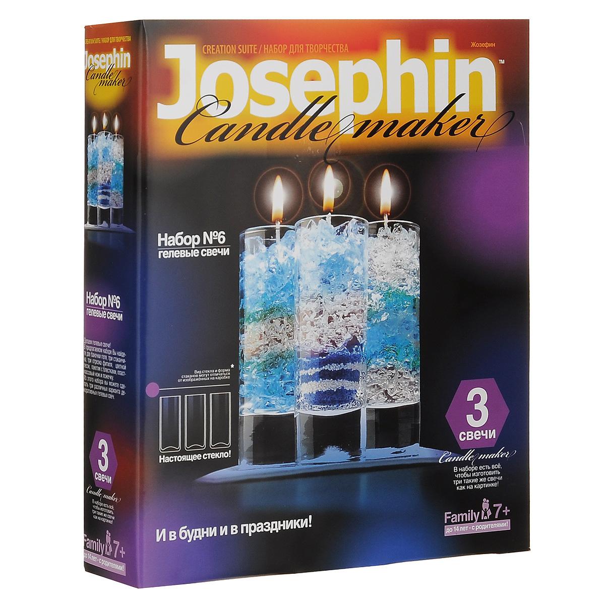 Набор для изготовления гелевых свечей Josephin №6274006В наборе для изготовления гелевых свечей Josephin №6 вы найдете две баночки геля, три стаканчика, три отрезка фитиля, цветной песок, пакетик с блестками, пластмассовый нож, ложечку и подробную инструкцию по работе с набором. Из этого набора вы сможете изготовить три различных варианта декоративных гелевых свечей. Кто не мечтал о своем маленьком свечном заводике? Вот он! Праздник, семейное торжество или обычный день - набор отлично подойдет для подарка, для эксклюзивно изготовленного украшения праздника или просто позволит увлекательно и уютно провести вечер в семейном кругу. Это своего рода соревнование в фантазии и вкусе, изобретательности и декоративном таланте. Огромное количество всевозможных узоров, красок, эффектов. Создай свою коллекцию! Детям до 14 лет под присмотром родителей.