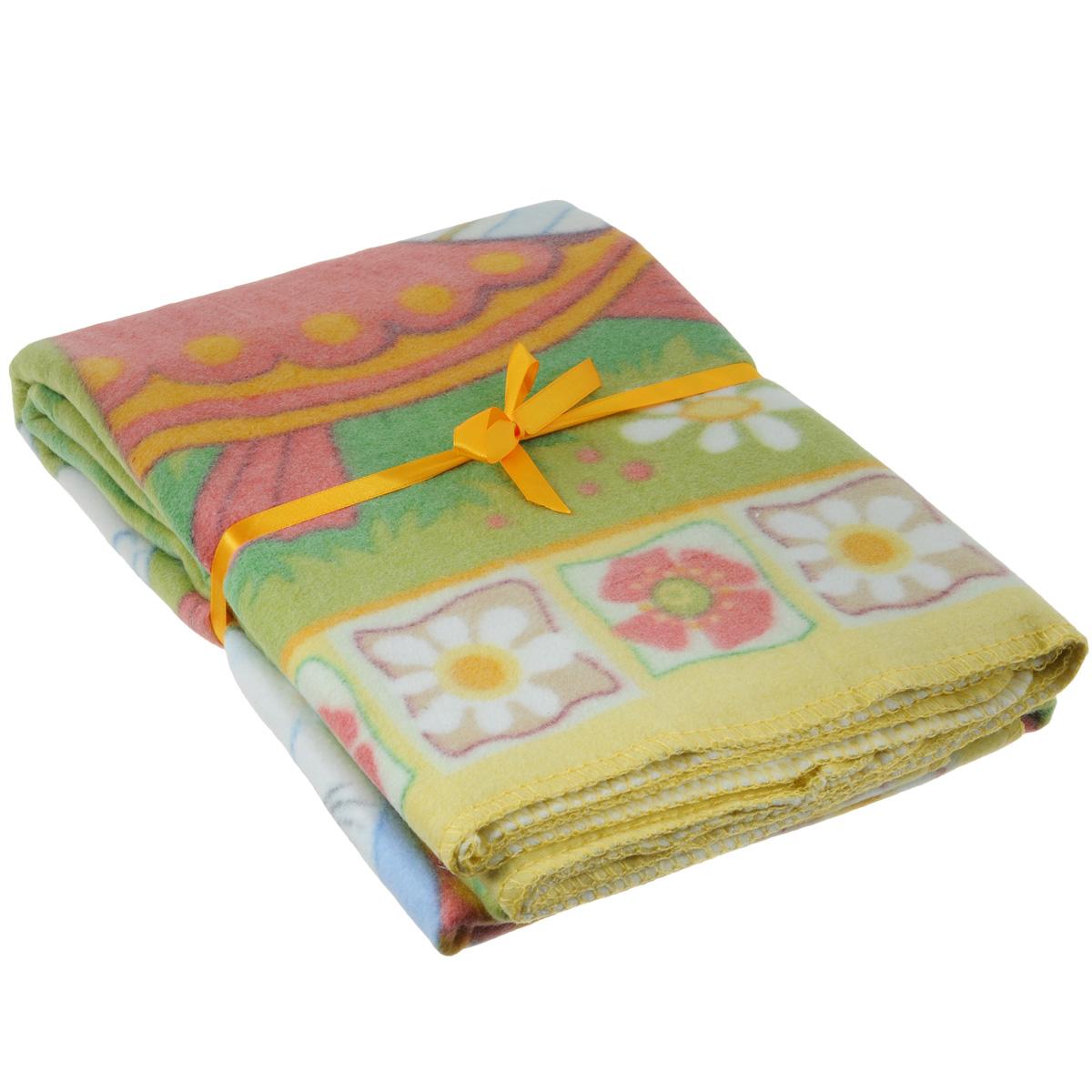 Одеяло детское Baby Nice Веселые гуси, байковое, цвет: желтый, 100 см x 140 смD311511