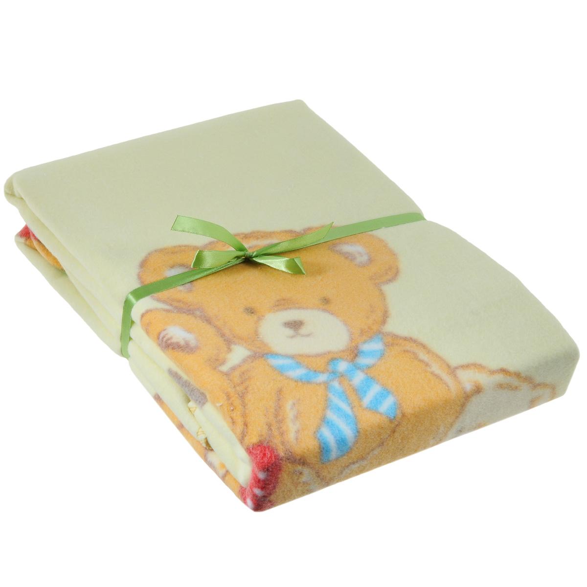 Одеяло детское Baby Nice Семейство медвежат, байковое, цвет: бежевый, 100 см x 140 смD311511