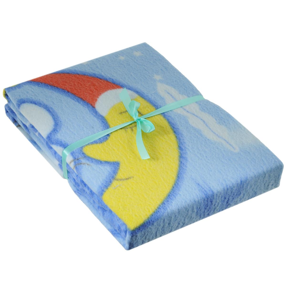 Одеяло детское Baby Nice Зайка на луне, байковое, цвет: голубой, 100 см x 140 смD311511