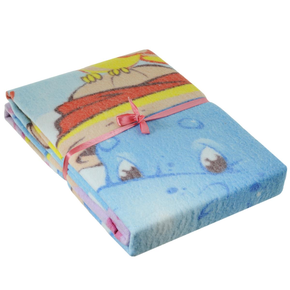 Одеяло детское Baby Nice Бегемот и попугай, байковое, цвет: розовый, 100 см x 140 смD311511