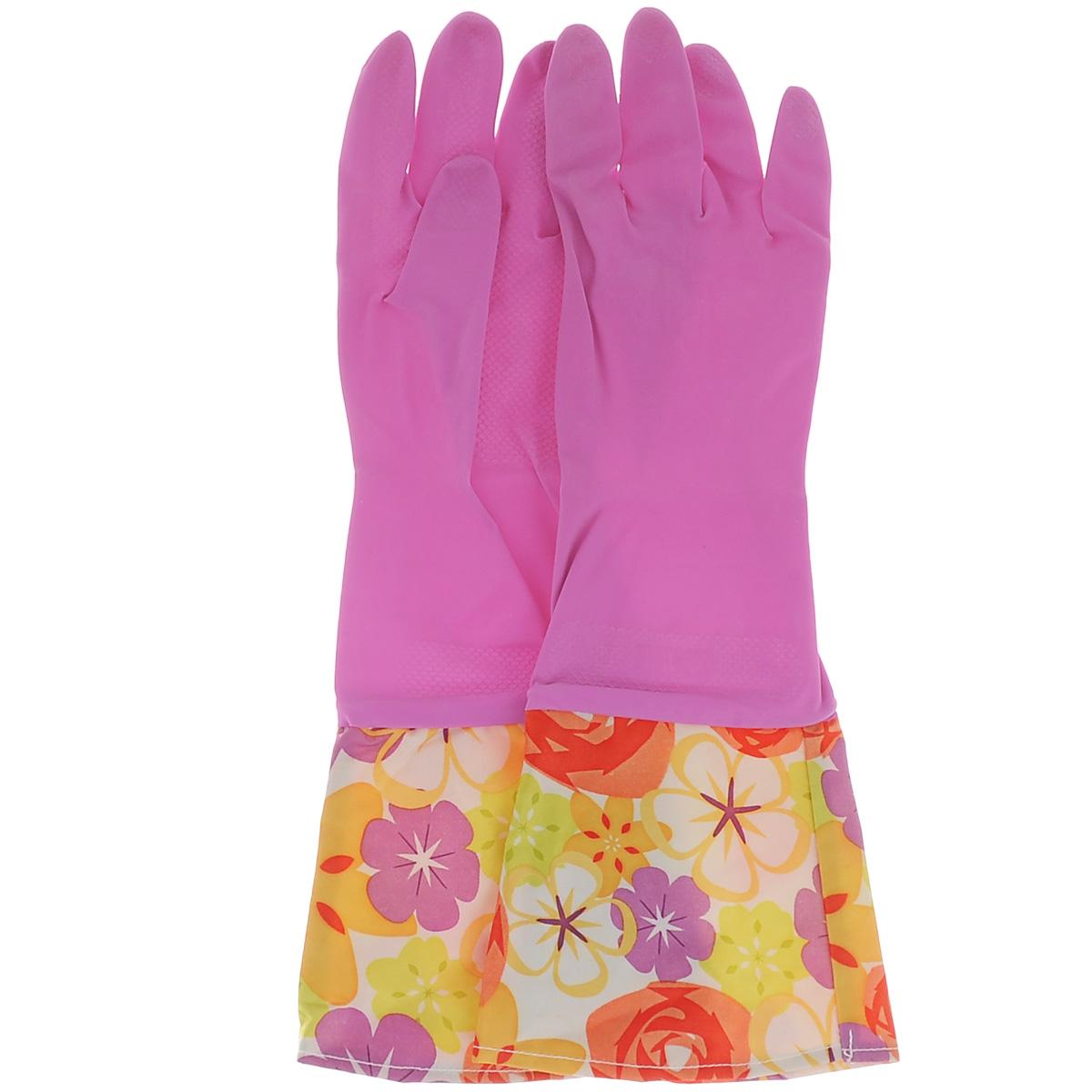 Перчатки хозяйственные Celesta, с удлиненными манжетами, цвет: розовый. Размер S5068Перчатки Celesta незаменимы при различных хозяйственных работах. Внутреннее хлопковое покрытие обеспечивает комфорт рукам и защищает от раздражений. Высокие манжеты препятствуют попаданию воды и грязи. Благодаря рифленой поверхности удобно удерживать мокрые предметы.
