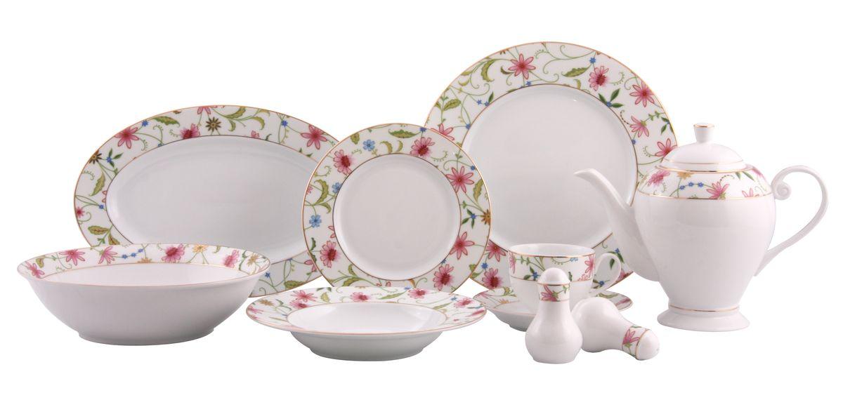 Сервиз WR-3002 обед. 36пр.WR-300236пр. на 6 персон : тарелки по 6шт: обеденная(27см), суповая(21,5см), десертная(19см); блюдо овал.-1шт (35*20см), салатник-1шт(23см), чайник с крышкой-1шт(1270мл), чашка-6шт.(200мл), блюдце-6шт(15см), солонка, перечница. Состав: фарфор.