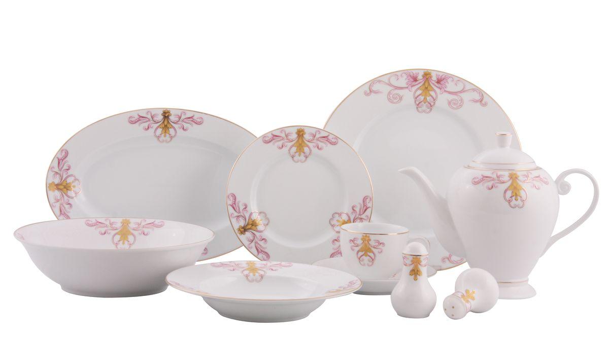 Сервиз WR-3003 обед. 36пр.WR-300336пр. на 6 персон : тарелки по 6шт: обеденная(27см), суповая(21,5см), десертная(19см); блюдо овал.-1шт (35*20см), салатник-1шт(23см), чайник с крышкой-1шт(1270мл), чашка-6шт.(200мл), блюдце-6шт(15см), солонка, перечница. Состав: фарфор.