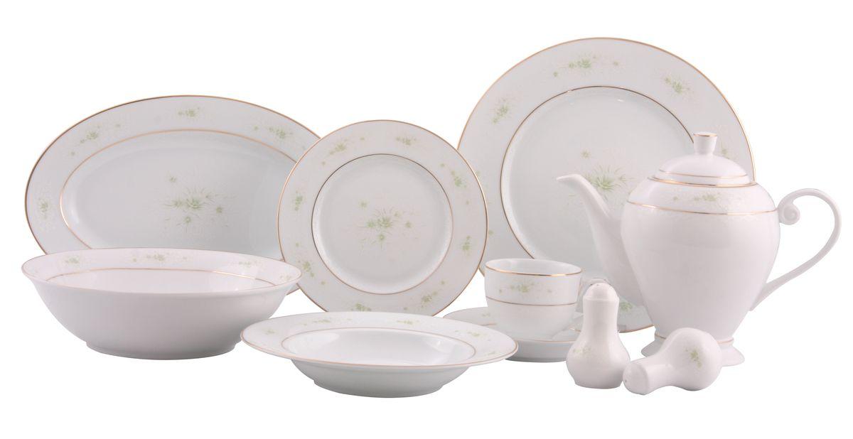 Сервиз WR-3005 обед. 36пр.WR-300536пр. на 6 персон : тарелки по 6шт: обеденная(27см), суповая(21,5см), десертная(19см); блюдо овал.-1шт (35*20см), салатник-1шт(23см), чайник с крышкой-1шт(1270мл), чашка-6шт.(200мл), блюдце-6шт(15см), солонка, перечница. Состав: фарфор.