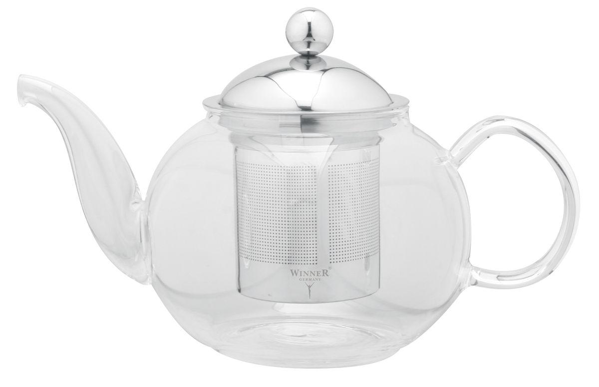 Чайник заварочный Winner, с фильтром, 800 млWR-5206Заварочный чайник Winner, изготовленный из термостойкого стекла, предоставит вам все необходимые возможности для успешного заваривания чая. Чай в таком чайнике дольше остается горячим, а полезные и ароматические вещества полностью сохраняются в напитке. Чайник оснащен фильтром и крышкой из нержавеющей стали. Простой и удобный чайник поможет вам приготовить крепкий, ароматный чай. Нельзя мыть в посудомоечной машине. Не использовать в микроволновой печи. Диаметр чайника (по верхнему краю): 7,5 см. Высота чайника (без учета крышки): 9 см. Высота фильтра: 7,5 см.