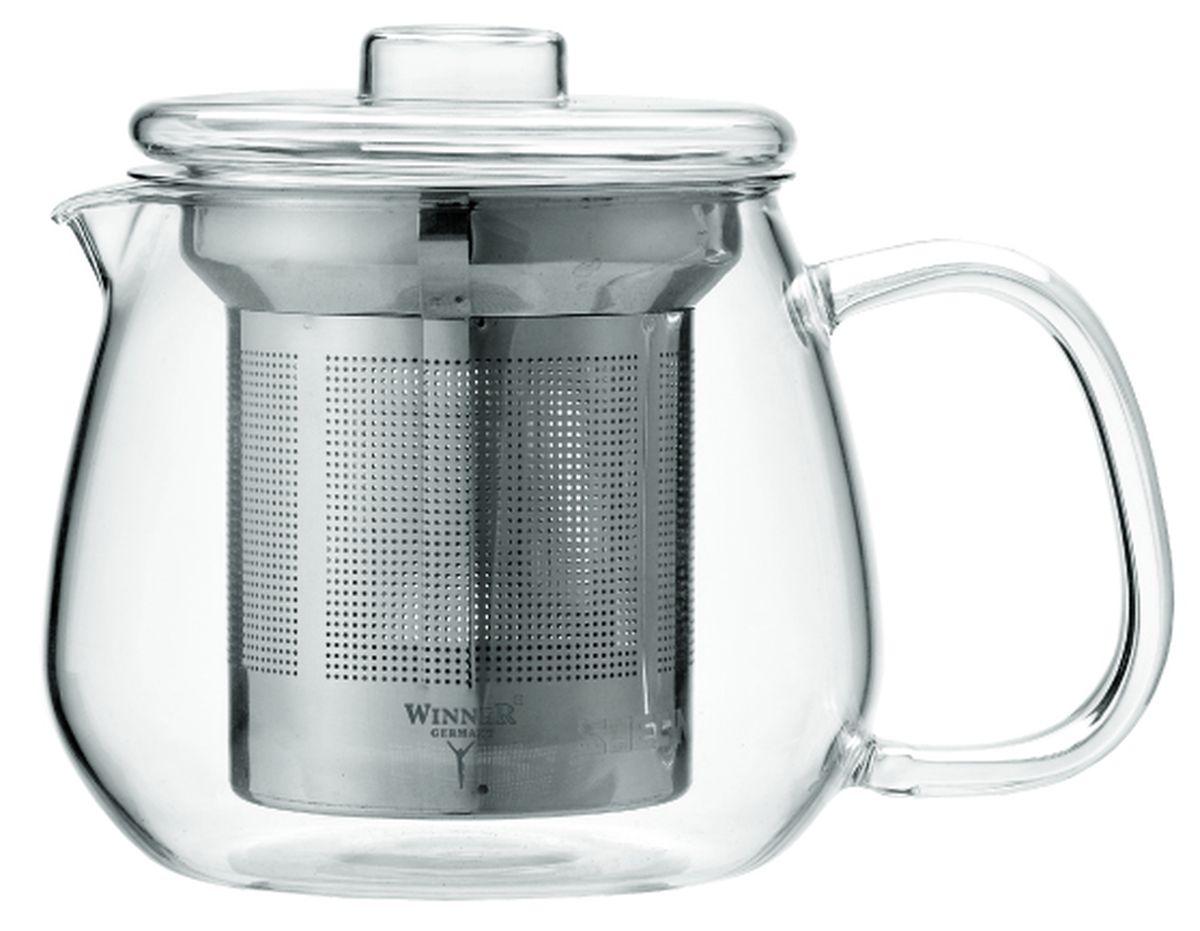 Чайник заварочный Winner, с фильтром, 400 млWR-5219Заварочный чайник Winner, изготовленный из термостойкого стекла, предоставит вам все необходимые возможности для успешного заваривания чая. Чай в таком чайнике дольше остается горячим, а полезные и ароматические вещества полностью сохраняются в напитке. Чайник оснащен фильтром и крышкой. Фильтр выполнен из нержавеющей стали. Простой и удобный чайник поможет вам приготовить крепкий, ароматный чай. Нельзя мыть в посудомоечной машине. Не использовать в микроволновой печи. Диаметр чайника (по верхнему краю): 7,5 см. Высота чайника (без учета крышки): 8,5 см. Высота фильтра: 7,5 см.