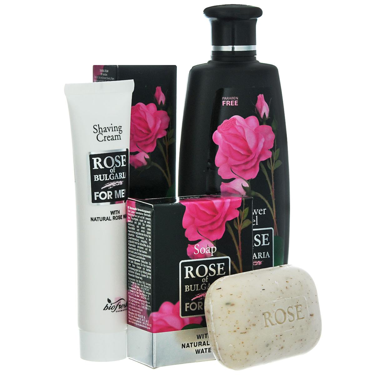Rose of Bulgaria for men Подарочный набор мужской: гель для душа-шампунь 2 в 1, 230 мл, мыло для мужчин, 100 г, крем для бритья, 75