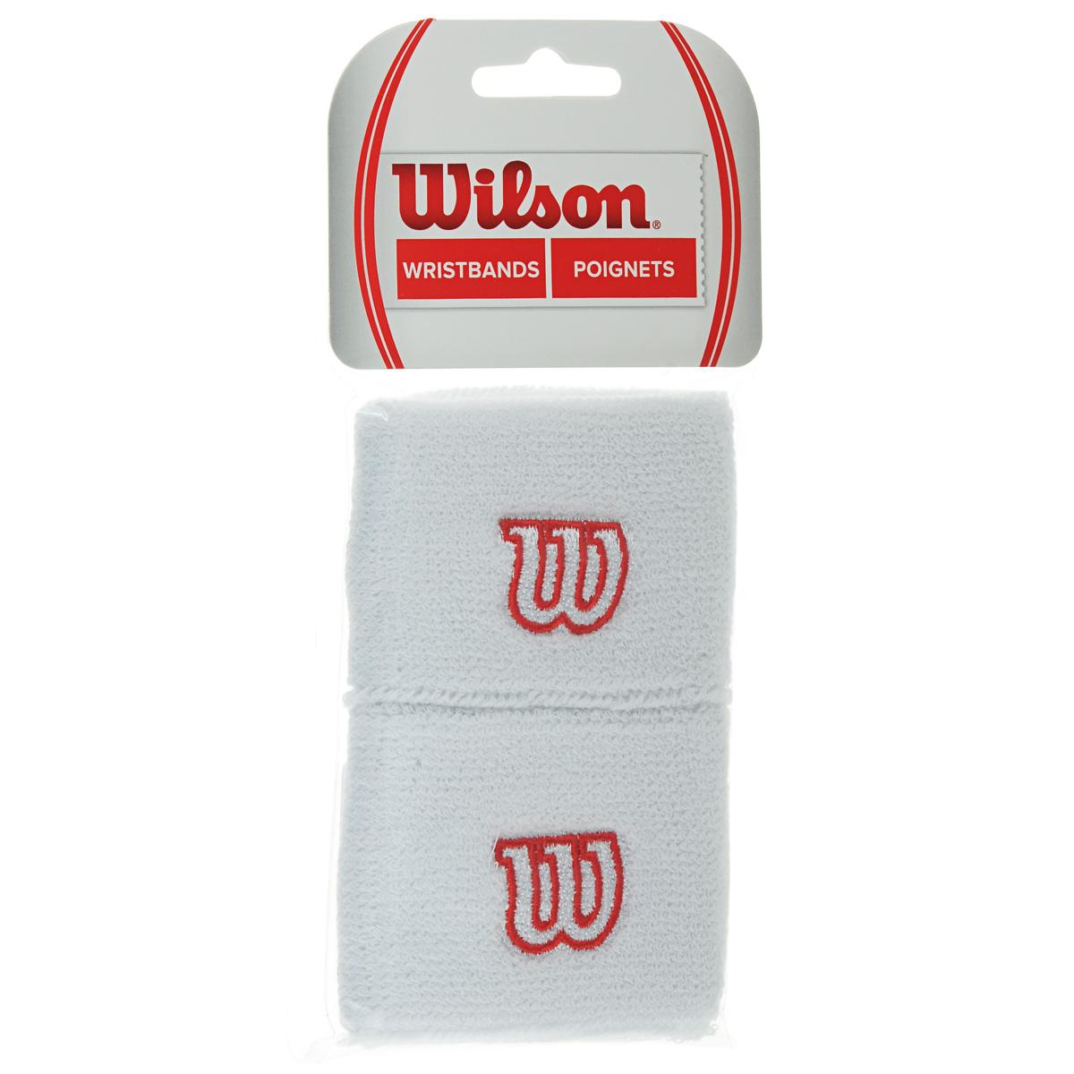 "Wilson Напульсник Wilson ""Wristband"", цвет: белый, 2 шт. Размер универсальный"