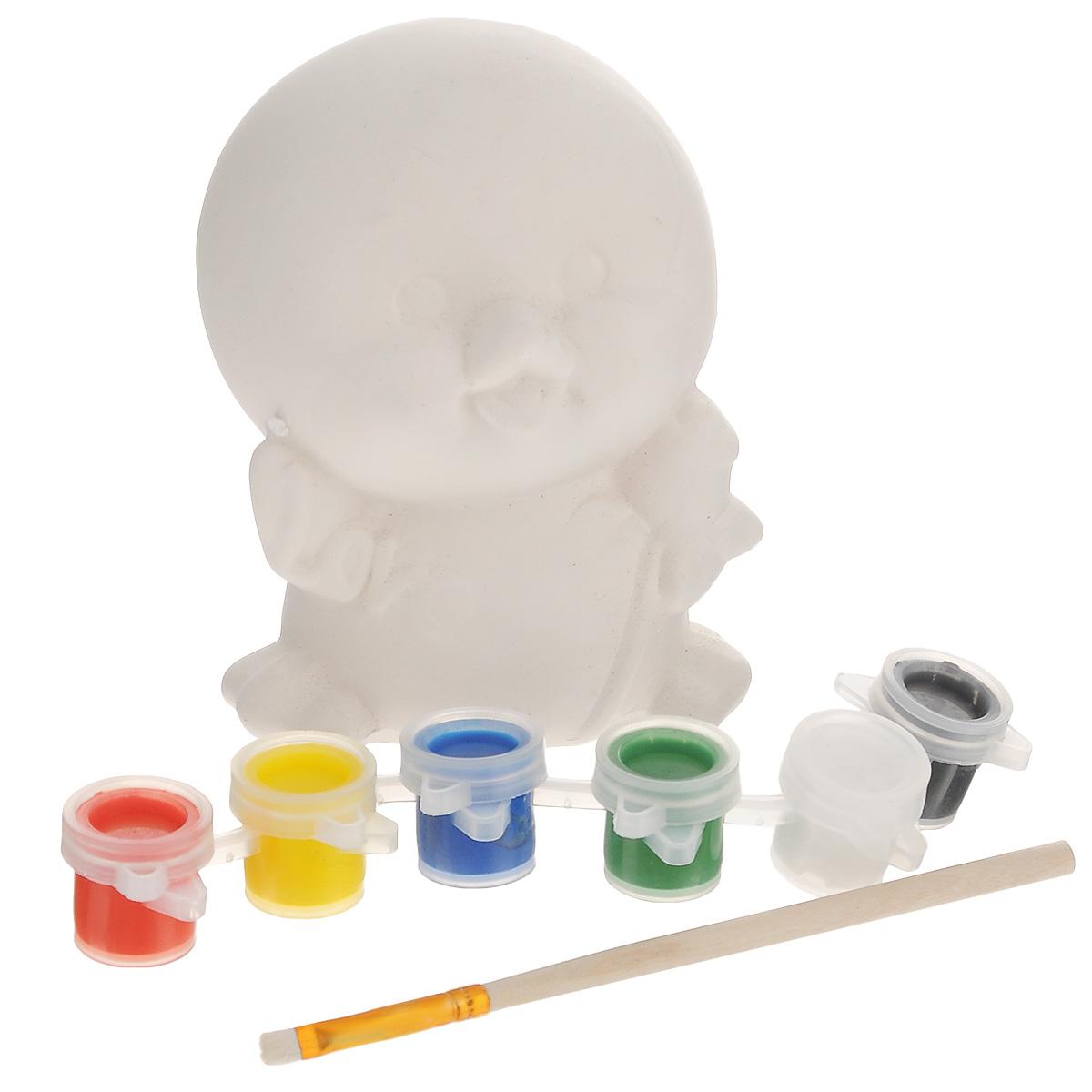 Набор для творчества Феникс-презент Цыпленок31560Набор для творчества Феникс-презент Цыпленок поможет вам создать свой личный шедевр - красивую, собственноручно раскрашенную копилку. В наборе вы найдете все необходимое для создания маленького произведения искусства: белую керамическую копилку-фигурку, выполненную в виде забавного цыпленка, акварельные краски 6 цветов, кисточку. На головецыпленка есть отверстие для монет. Имеется инструкция по работе на упаковке. Раскрашивание копилки своими руками не только принесет ребенку массу удовольствия, но и поможет сформировать художественный вкус и развить внимательность, терпение и пространственное мышление.